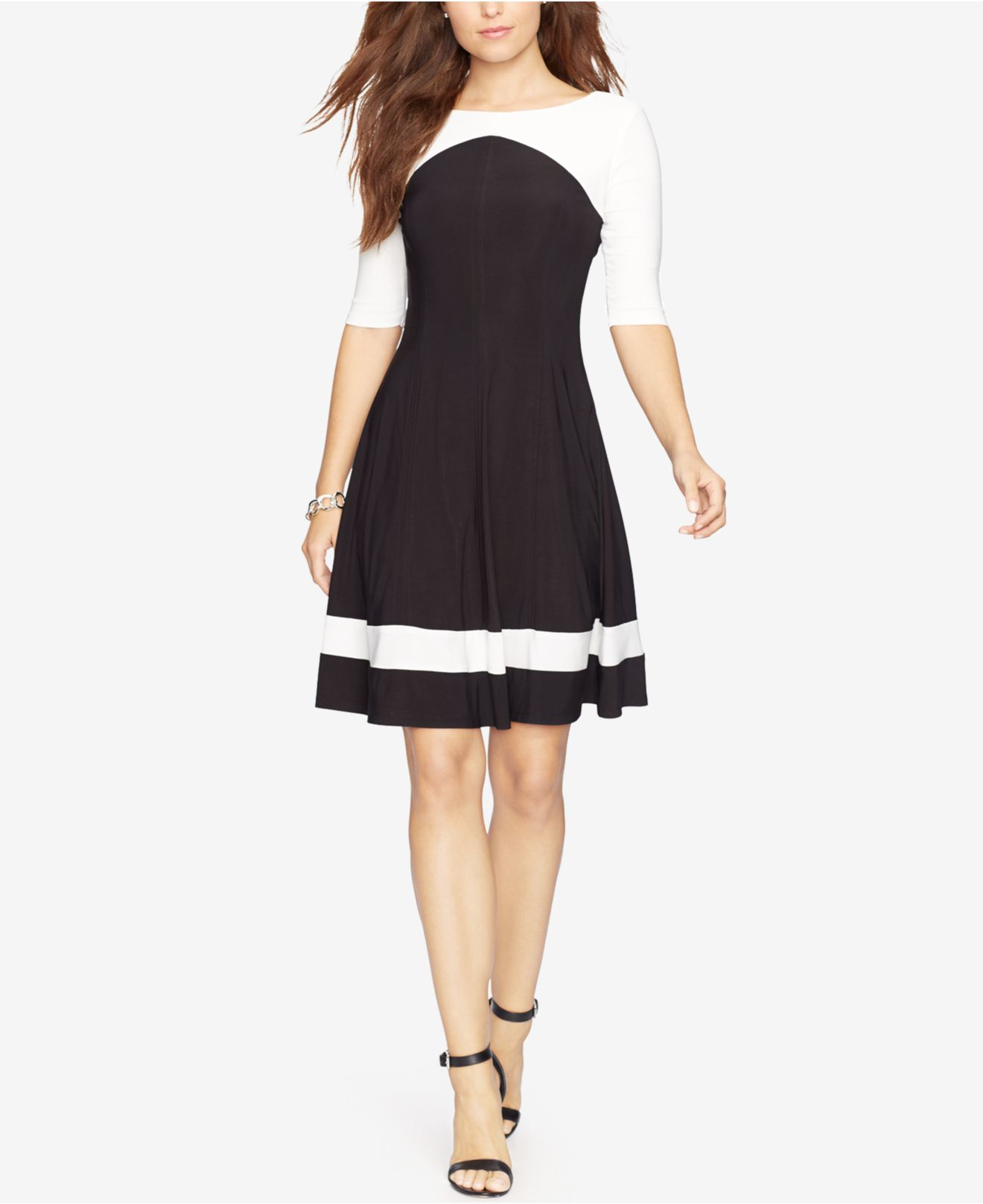 American Living Colorblocked Jersey Dress In White Lyst