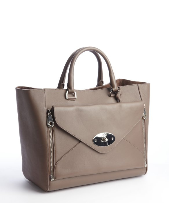 Mulberry Taupe Leather Willow Tote Bag in Brown | Lyst