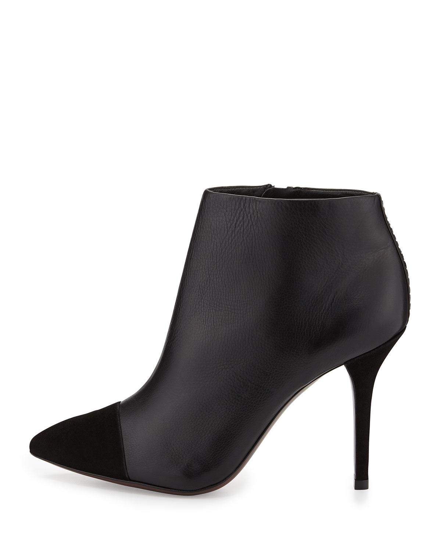 e4f43f311943 Lyst - Tory Burch Rivington Leather Cap-Toe Bootie in Black