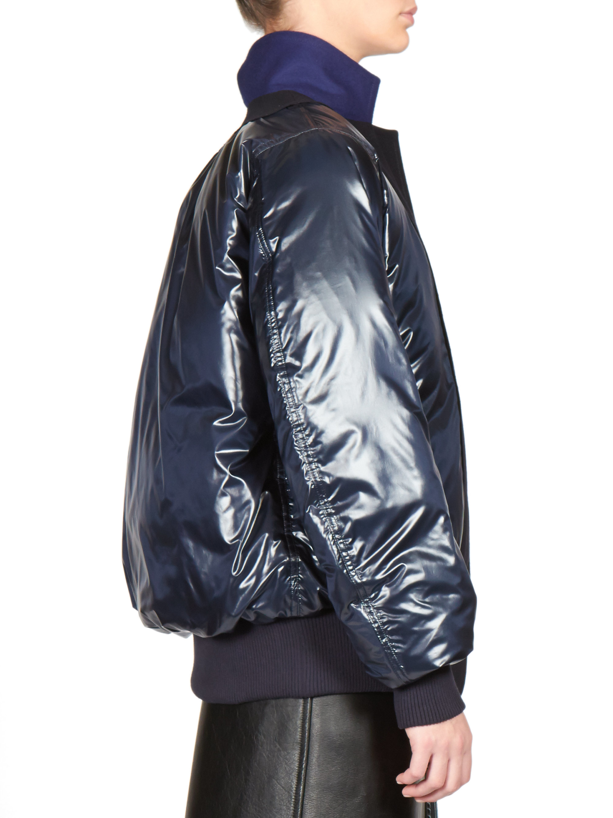 Lyst Sacai Luck Suit Lapel Puffer Jacket In Blue