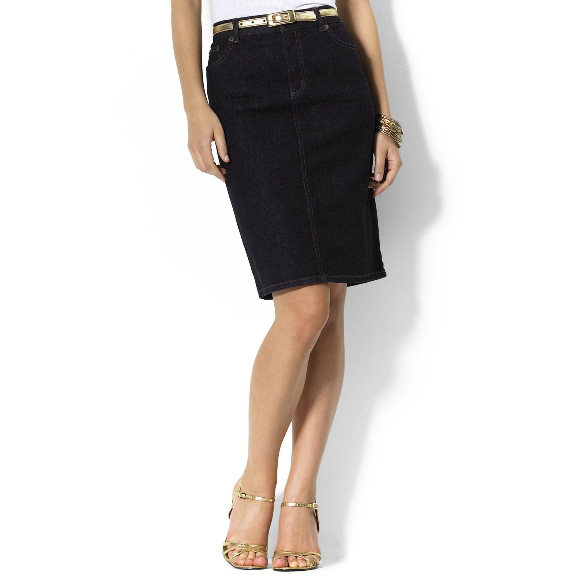 776e26f9fe8 Lyst - Lauren by Ralph Lauren Lauren Jeans Co Skirt Stretch Denim ...