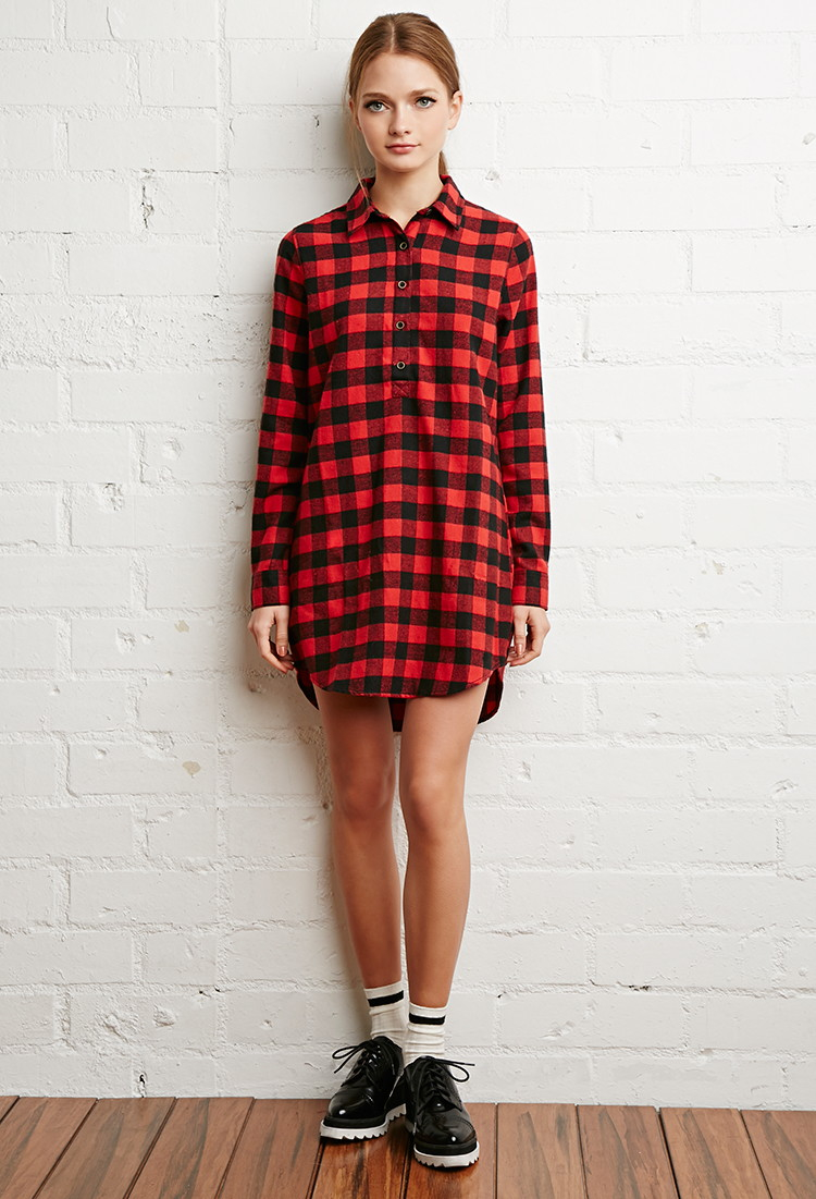 Forever 21 Flannel Buffalo Plaid Shirt Dress In Red Black