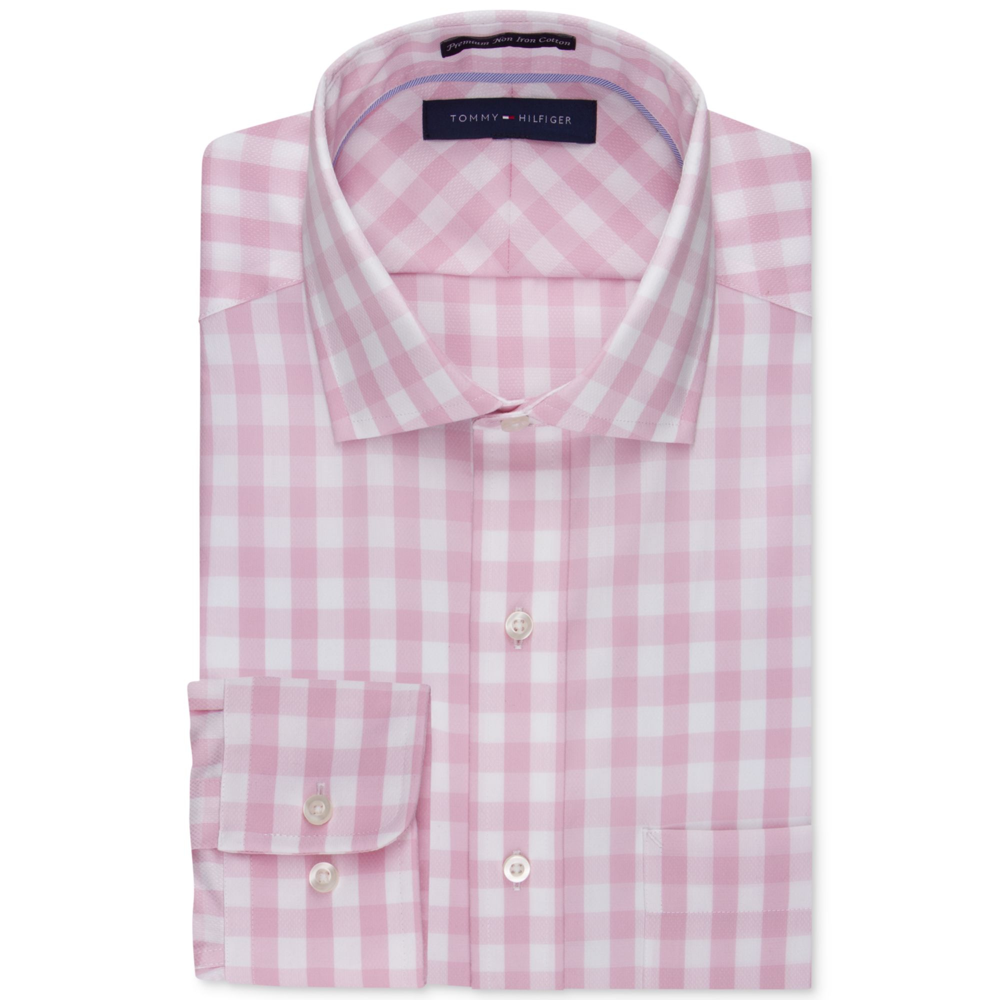 e231883c Tommy Hilfiger No Iron Pink and White Bold Check Dress Shirt in Pink ...