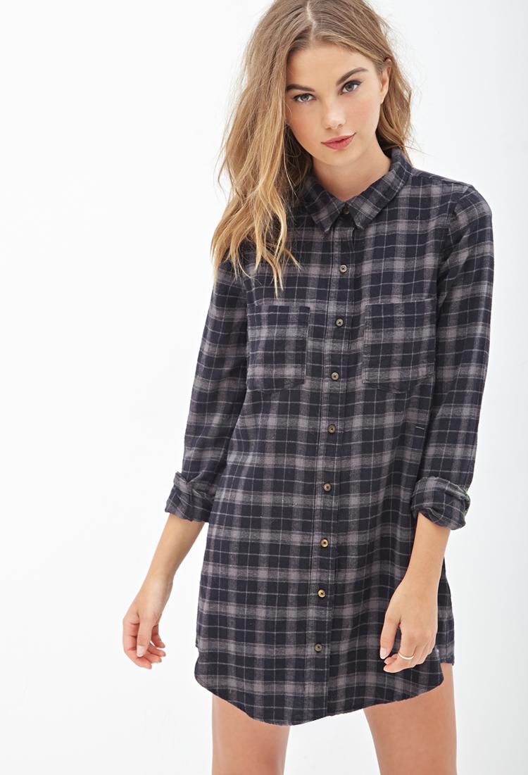 Forever 21 plaid flannel shirt dress in black lyst for Flannel shirts for womens forever 21
