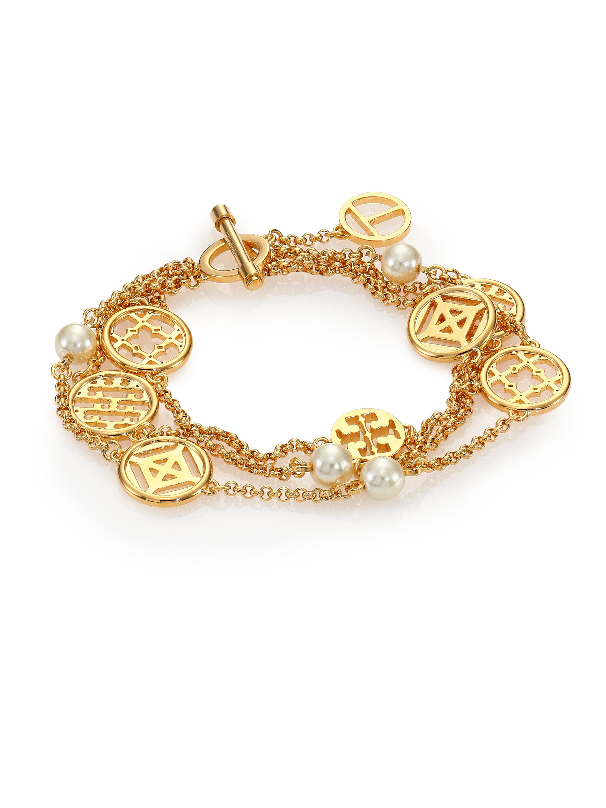 Lyst Tory Burch Charm Amp Faux Pearl Triple Strand Station
