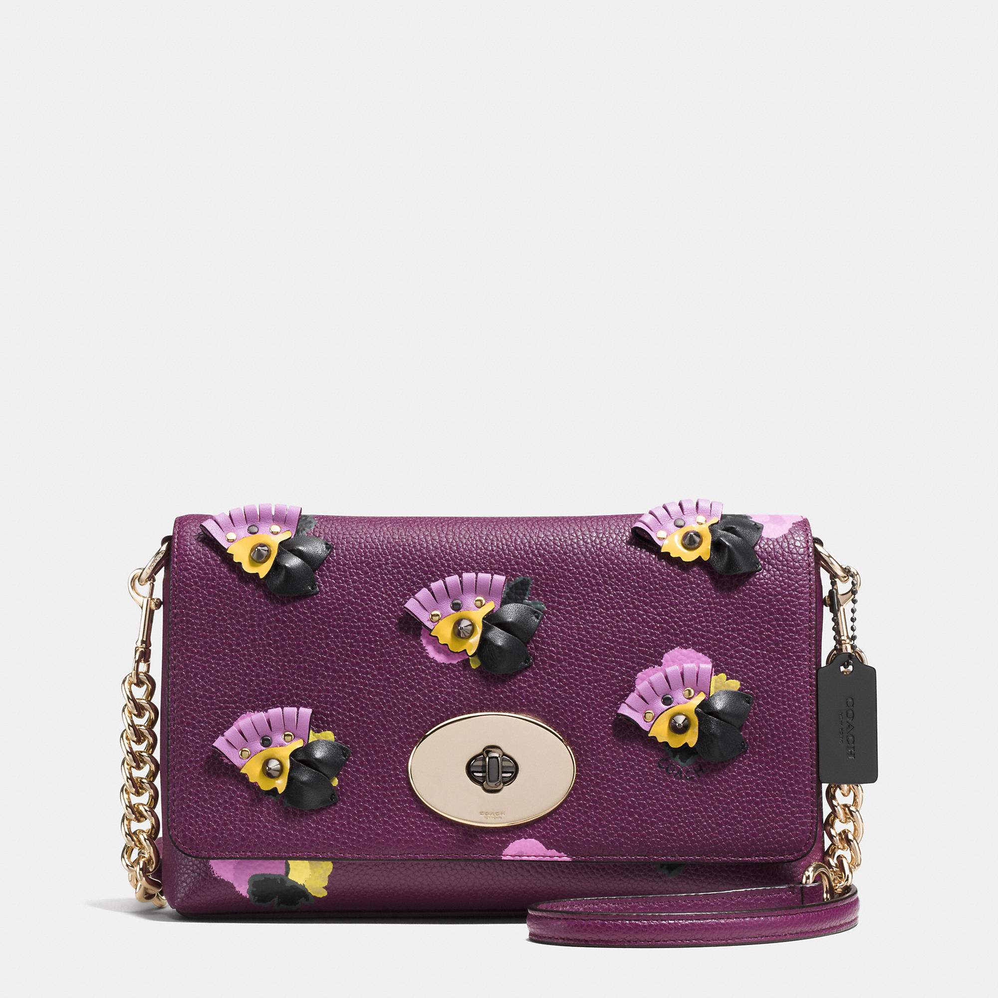 Coach Crosstown Crossbody In Floral Applique Leather In Purple | Lyst