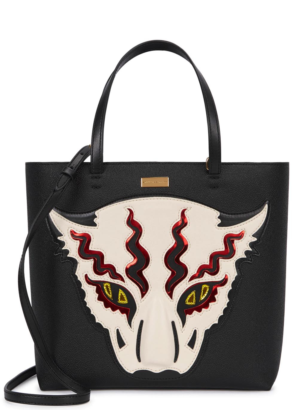 270a96582d91 Stella Mccartney Wild Cat Appliqué Tote in Black - Lyst