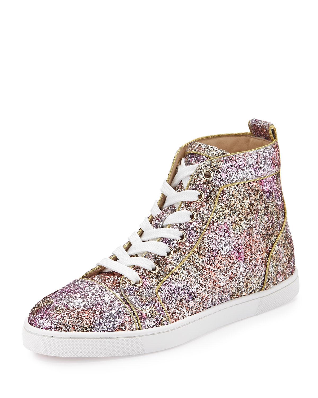 6cd02fb9ff8 Christian Louboutin Multicolor Bip Bip Glitter Aquarium High-top Sneaker