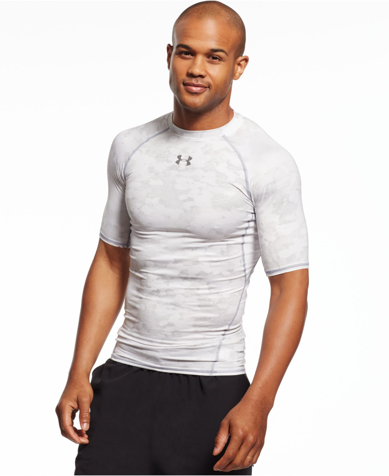 Under armour printed heatgear compression t shirt in white for Under armour heatgear white shirt
