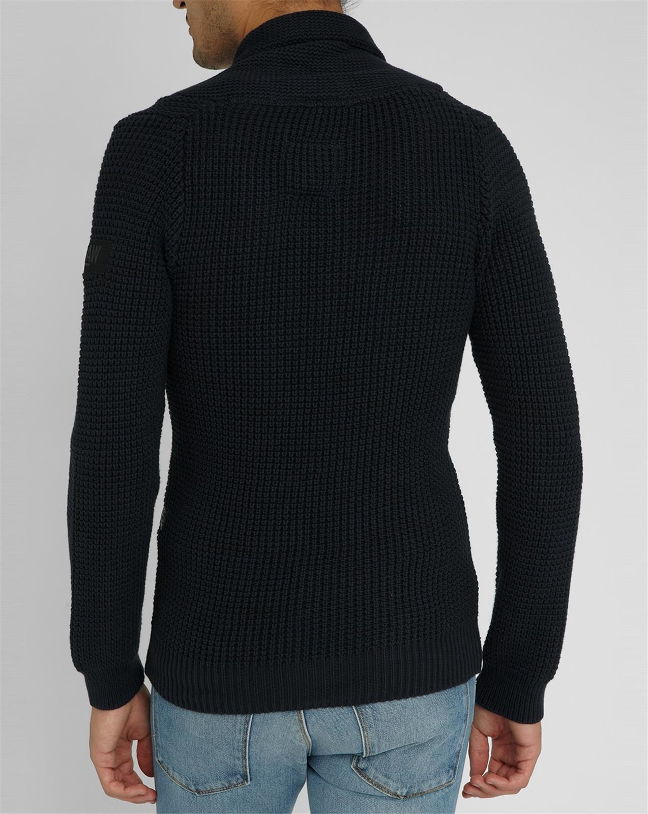 g star raw navy avihu schaw knit sweater with shawl collar in blue for men lyst. Black Bedroom Furniture Sets. Home Design Ideas