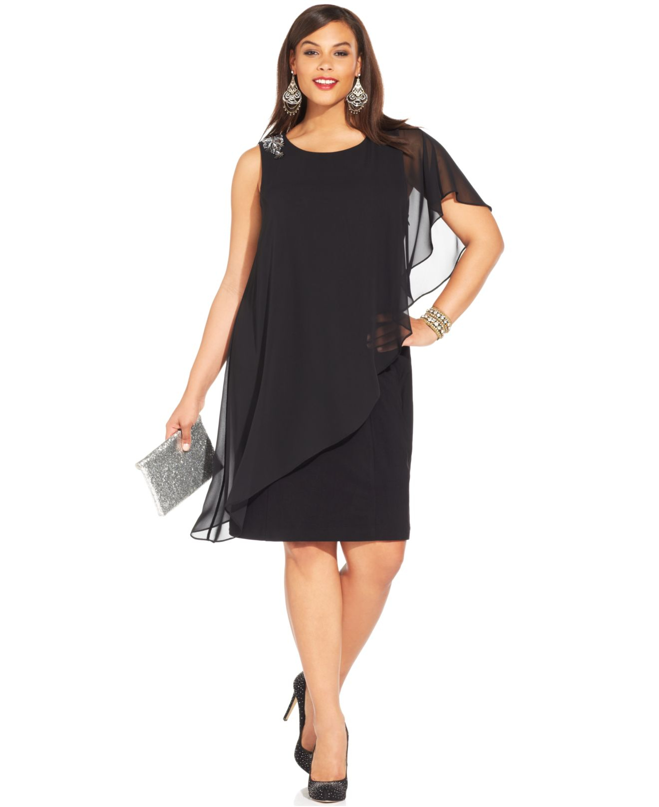 Women\'s Black Plus Size One-Shoulder Chiffon Overlay Dress