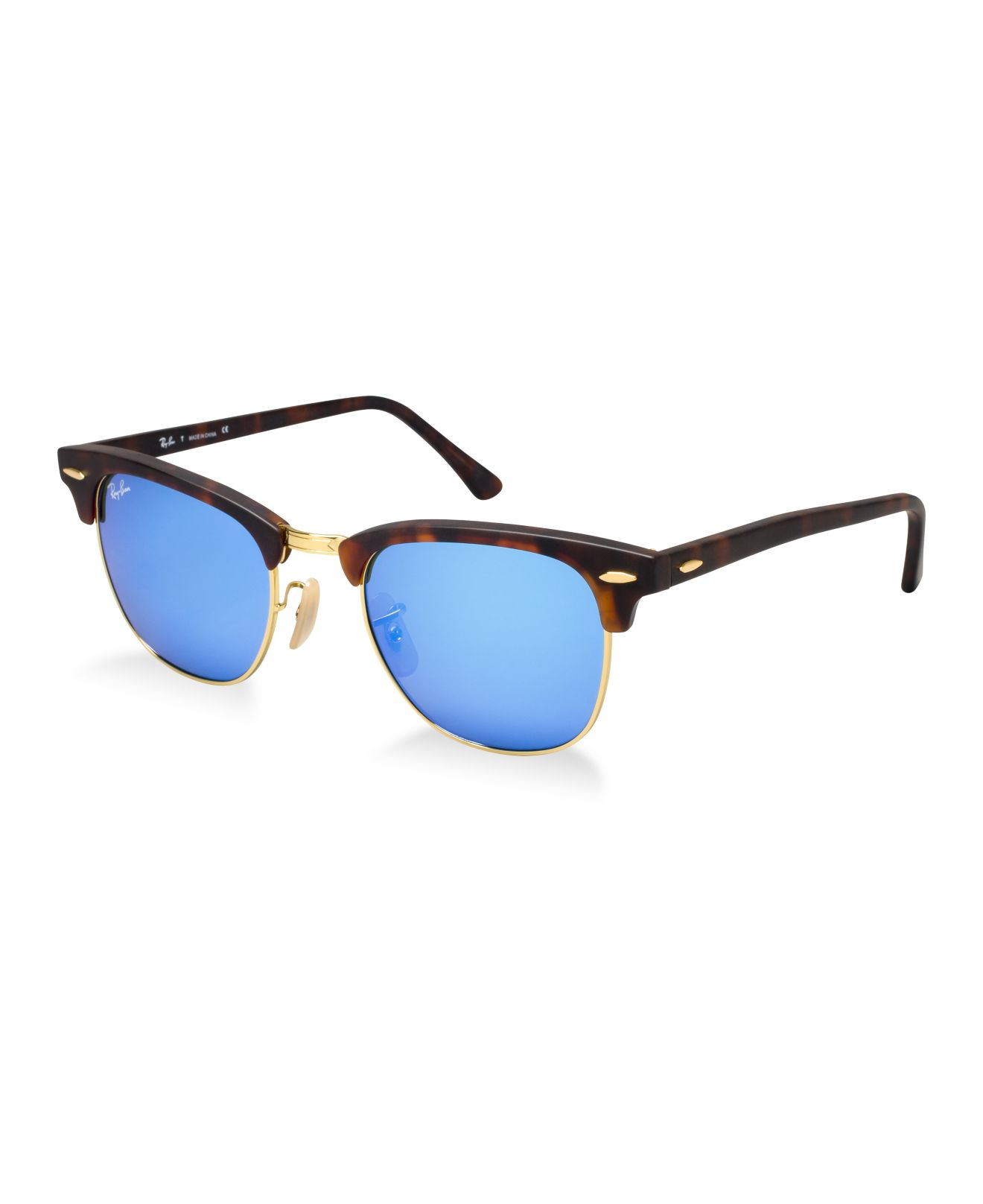 Clubmaster Sunglass Hut  ray ban rb3016 49 clubmaster mirrored in metallic lyst