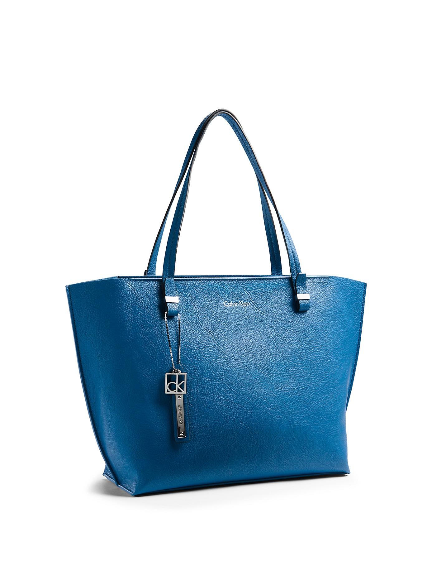 calvin klein white label hailey city shopper tote in blue. Black Bedroom Furniture Sets. Home Design Ideas