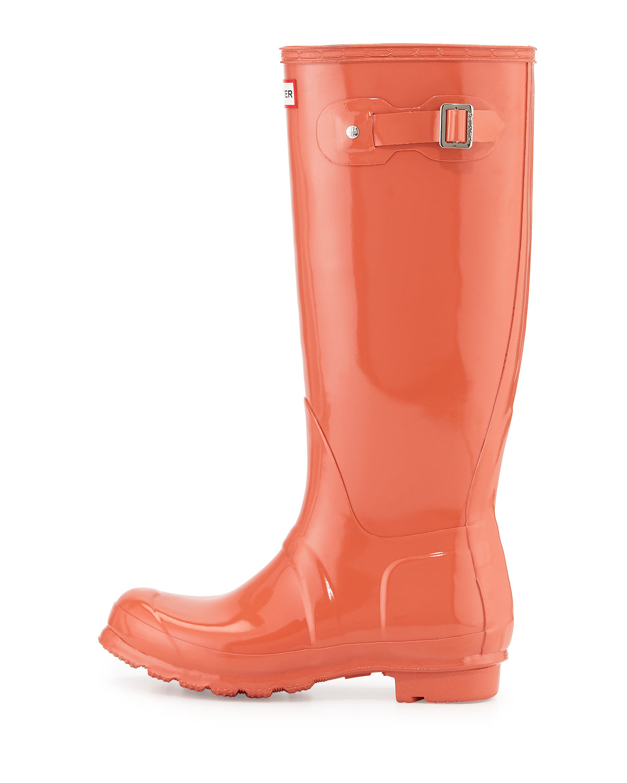 Hunter Original Tall Gloss Rain Boots in Red | Lyst