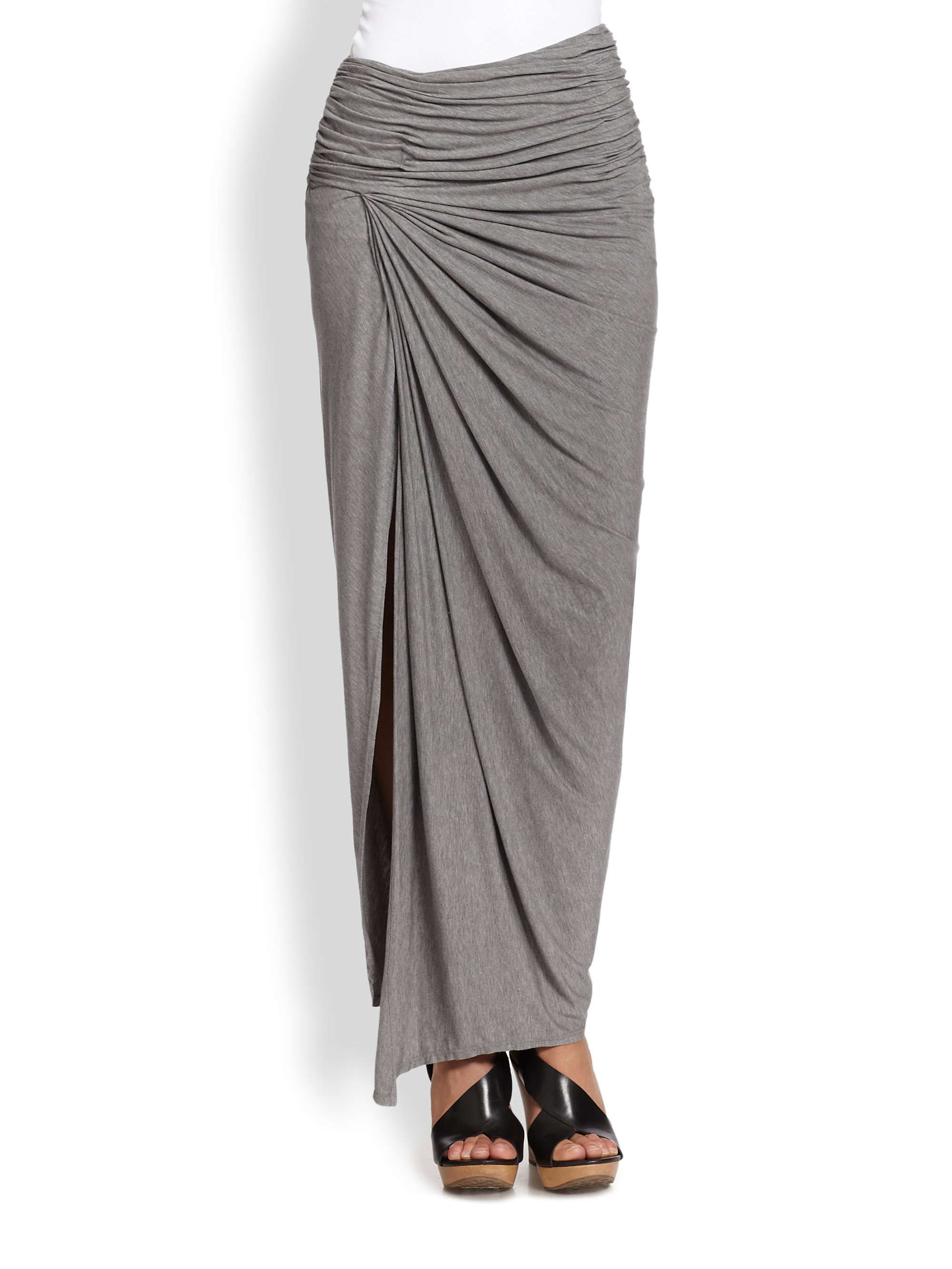 Alice   olivia Kay Ruched Jersey Maxi Skirt in Gray | Lyst