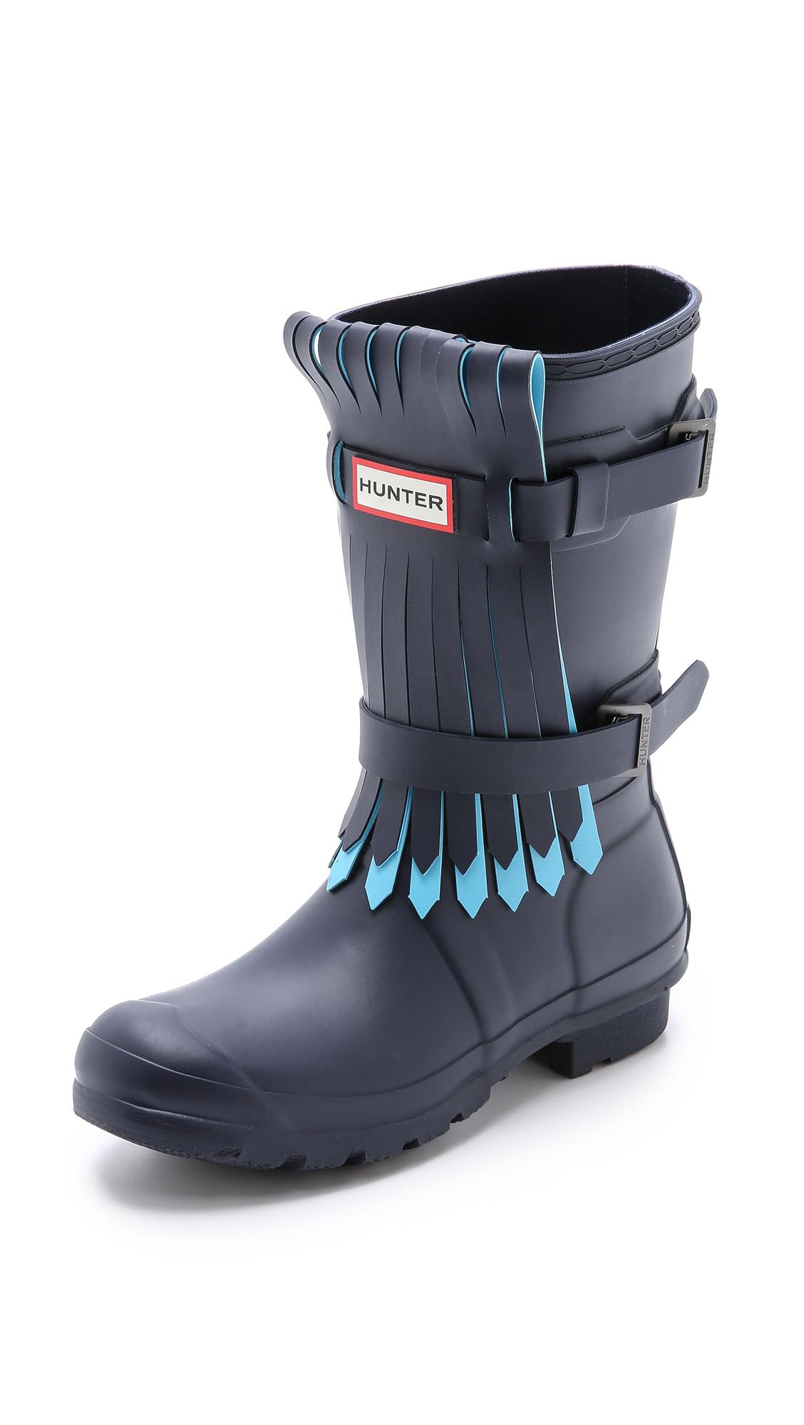 Lyst Hunter Original Fringe Short Boots Black Dark