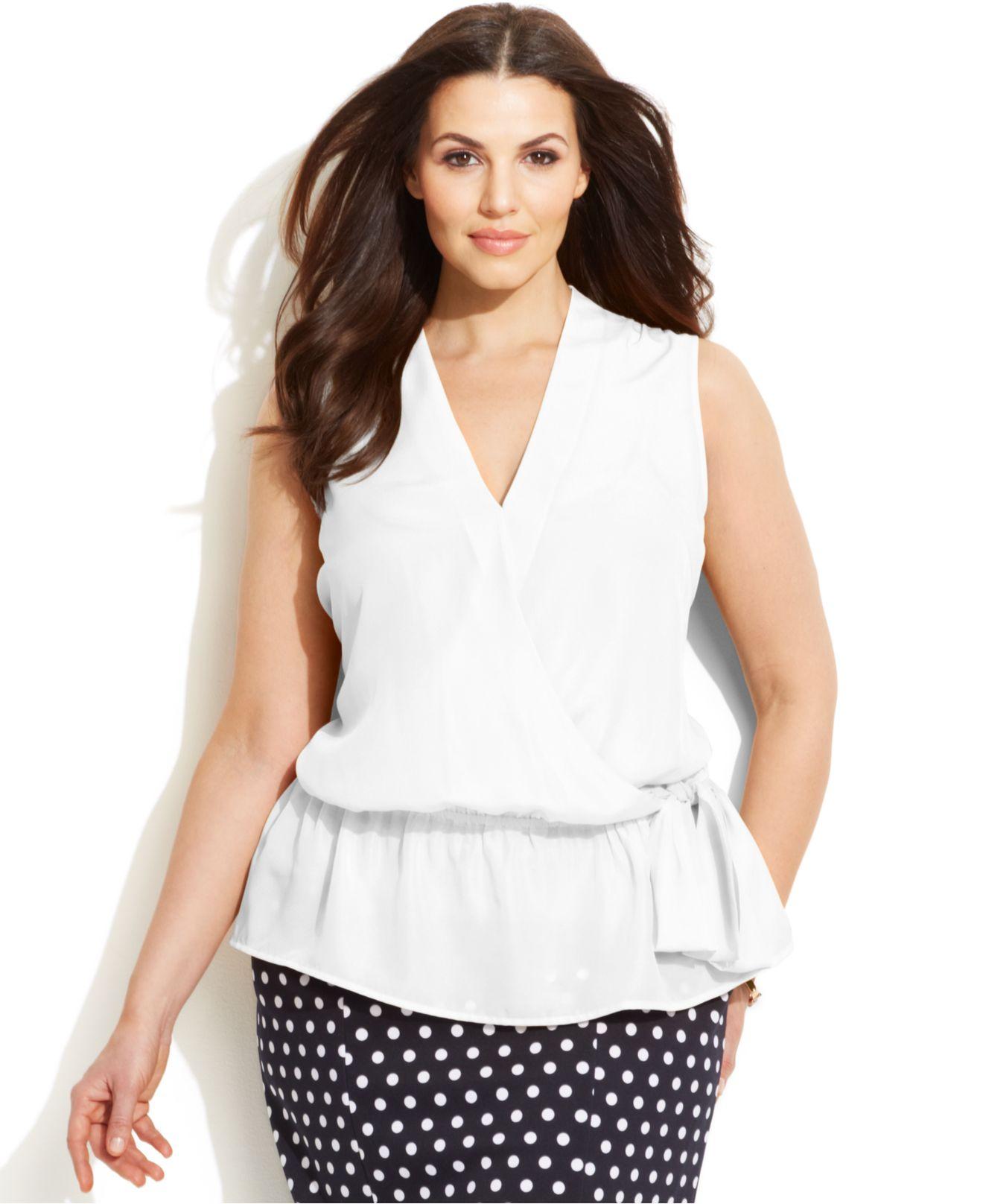 b6e70b9a839 Lyst - Michael Kors Michael Plus Size Faux-Wrap Blouse in White