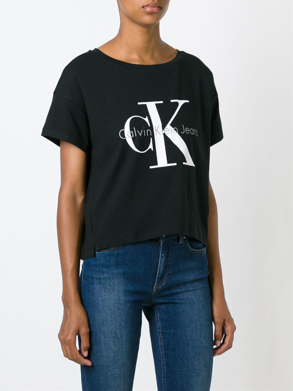 calvin klein jeans classic logo print t shirt in black lyst. Black Bedroom Furniture Sets. Home Design Ideas