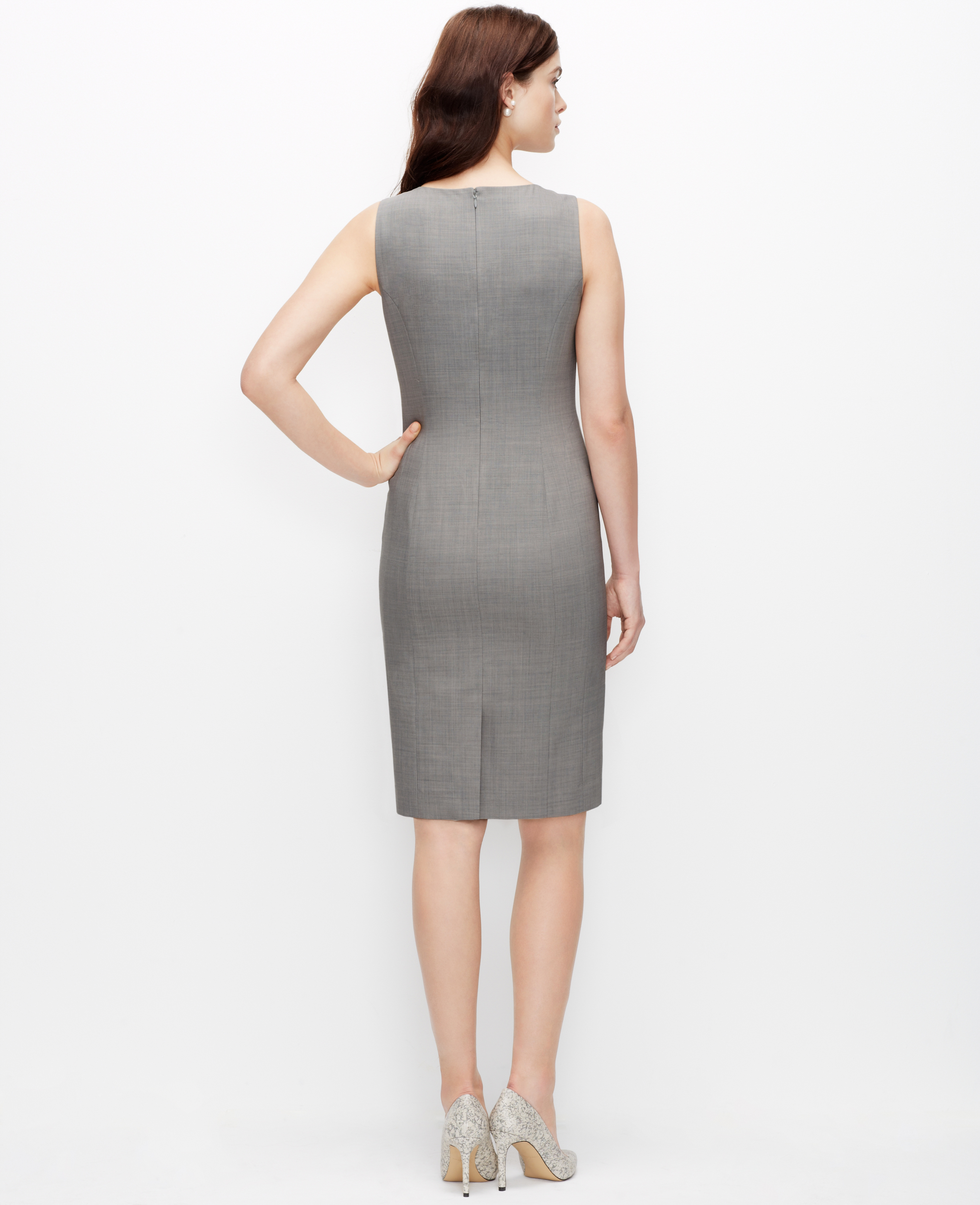 Ann taylor Tropical Wool Sheath Dress in Gray | Lyst