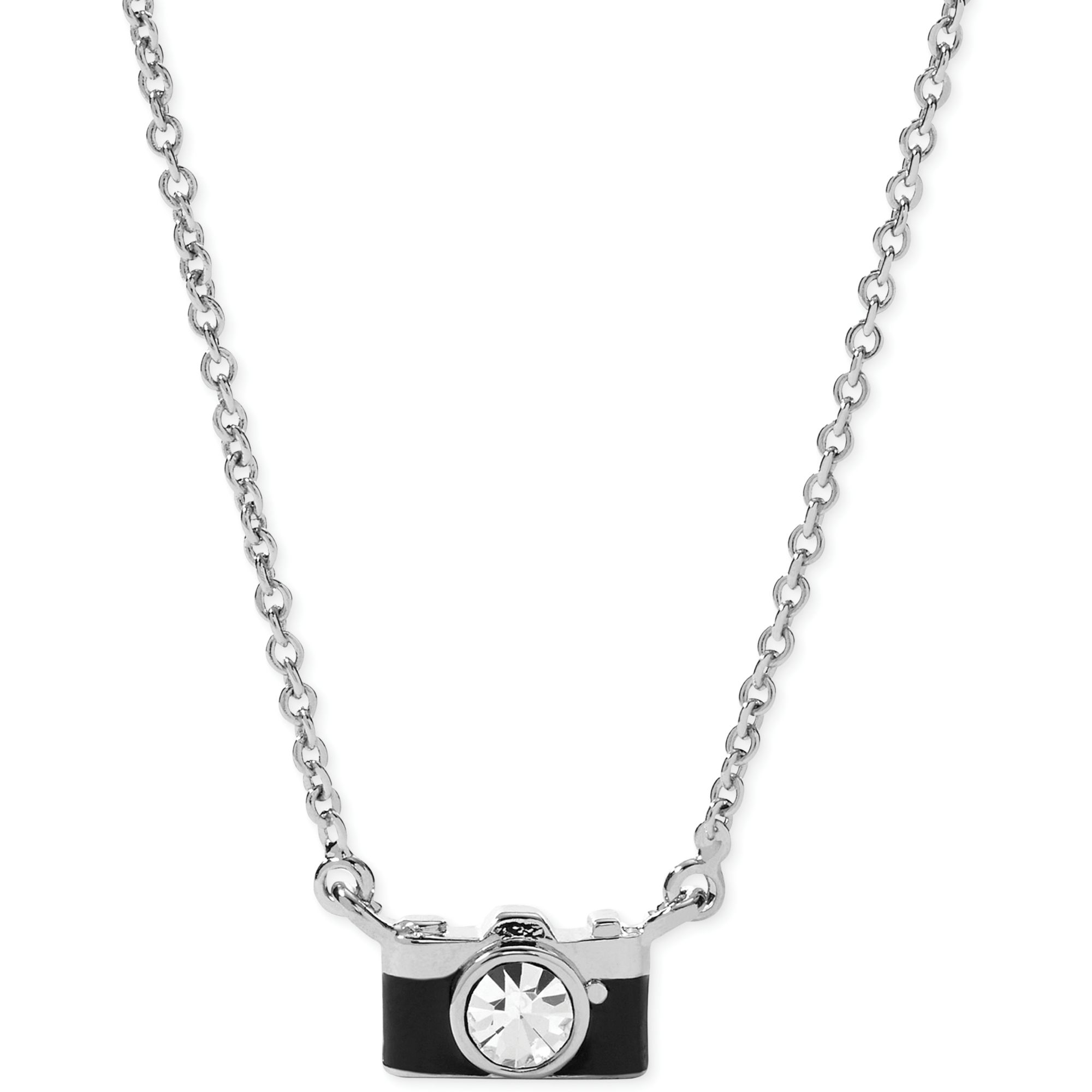 d4e7c548c8fa0 Fossil Metallic Stainless Steel Crystal Camera Pendant Necklace