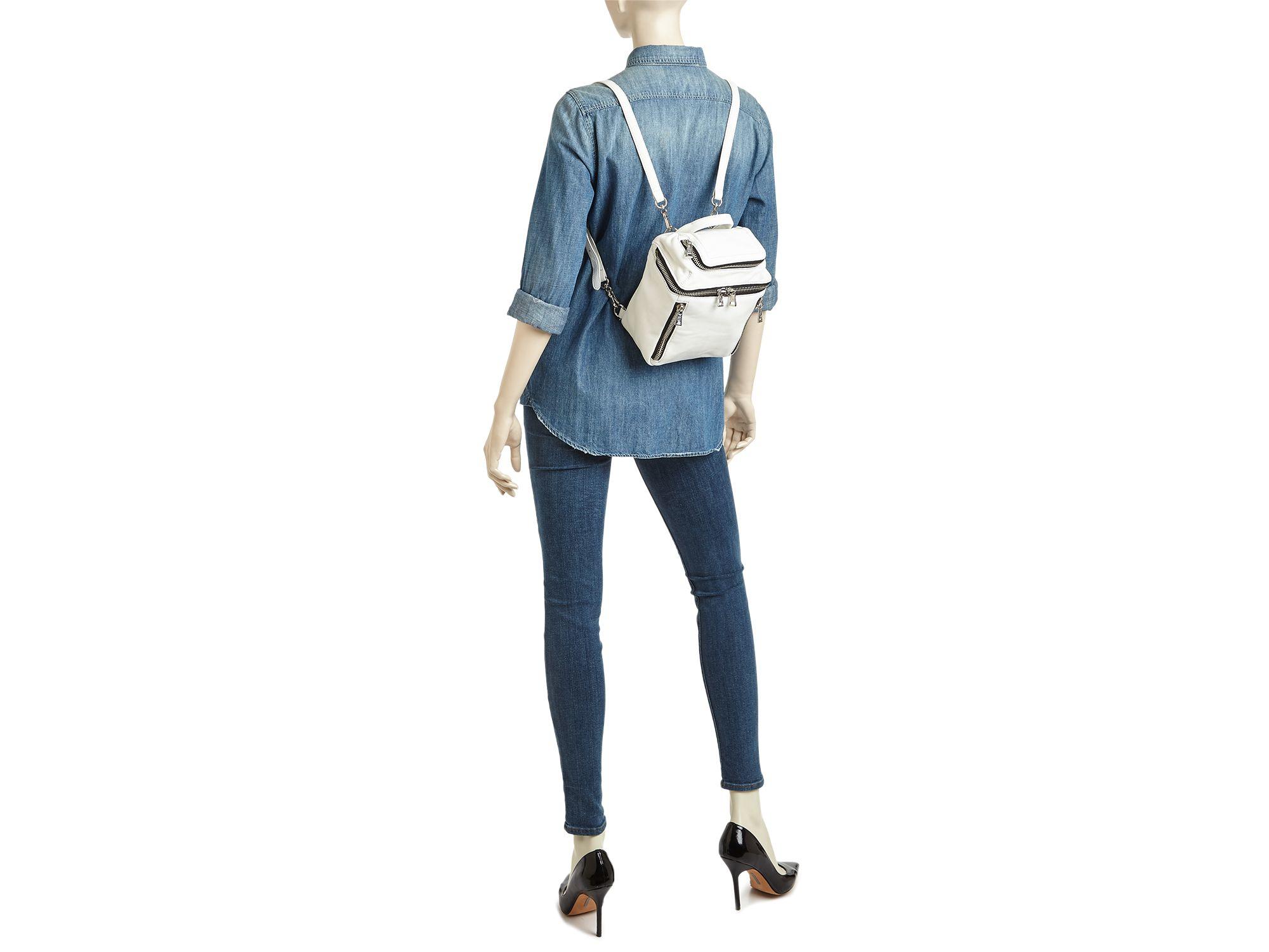 Ash Leather Harper Mini Backpack in White
