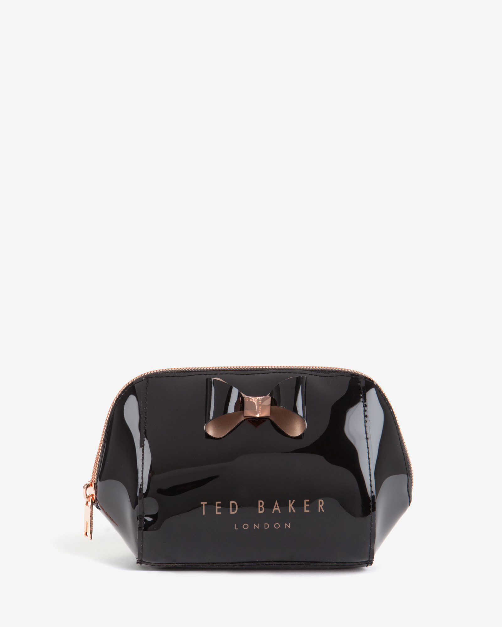 a38c9e301679 Ted Baker Trapeze Bow Patent Wash Bag in Black - Lyst