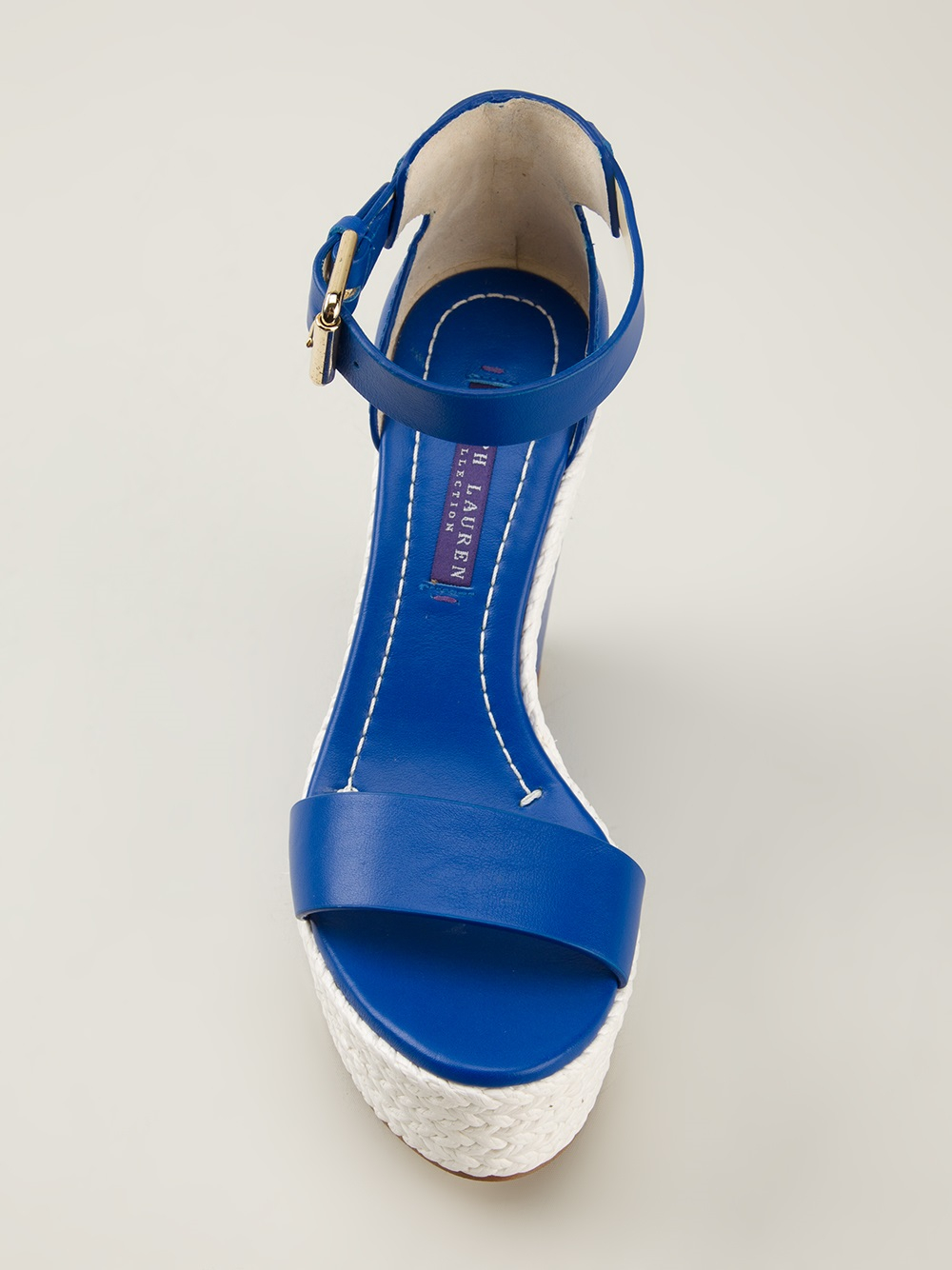 ralph wedge sandals in blue lyst