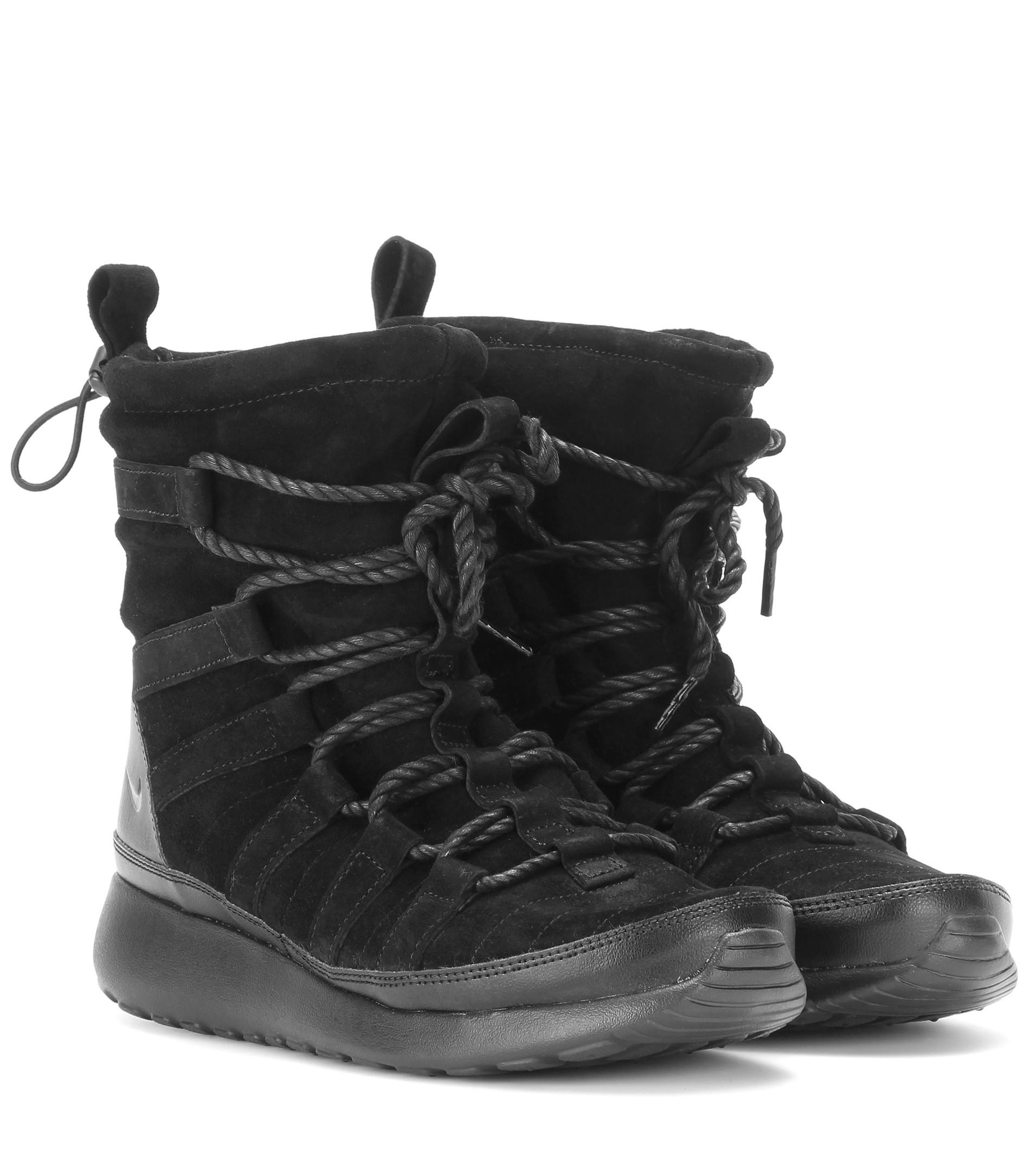 Lyst - Nike Roshe One Suede High-Top Sneakers in Black