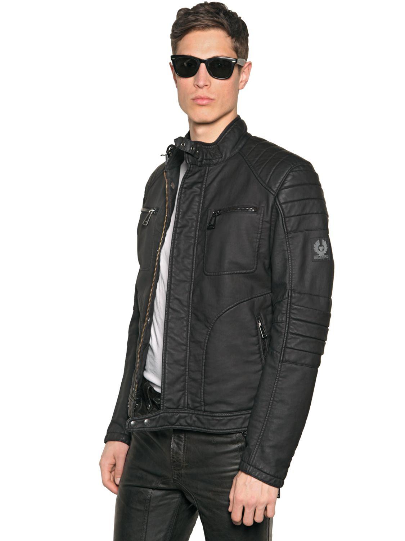 belstaff weybridge rubberized cotton jacket in black for