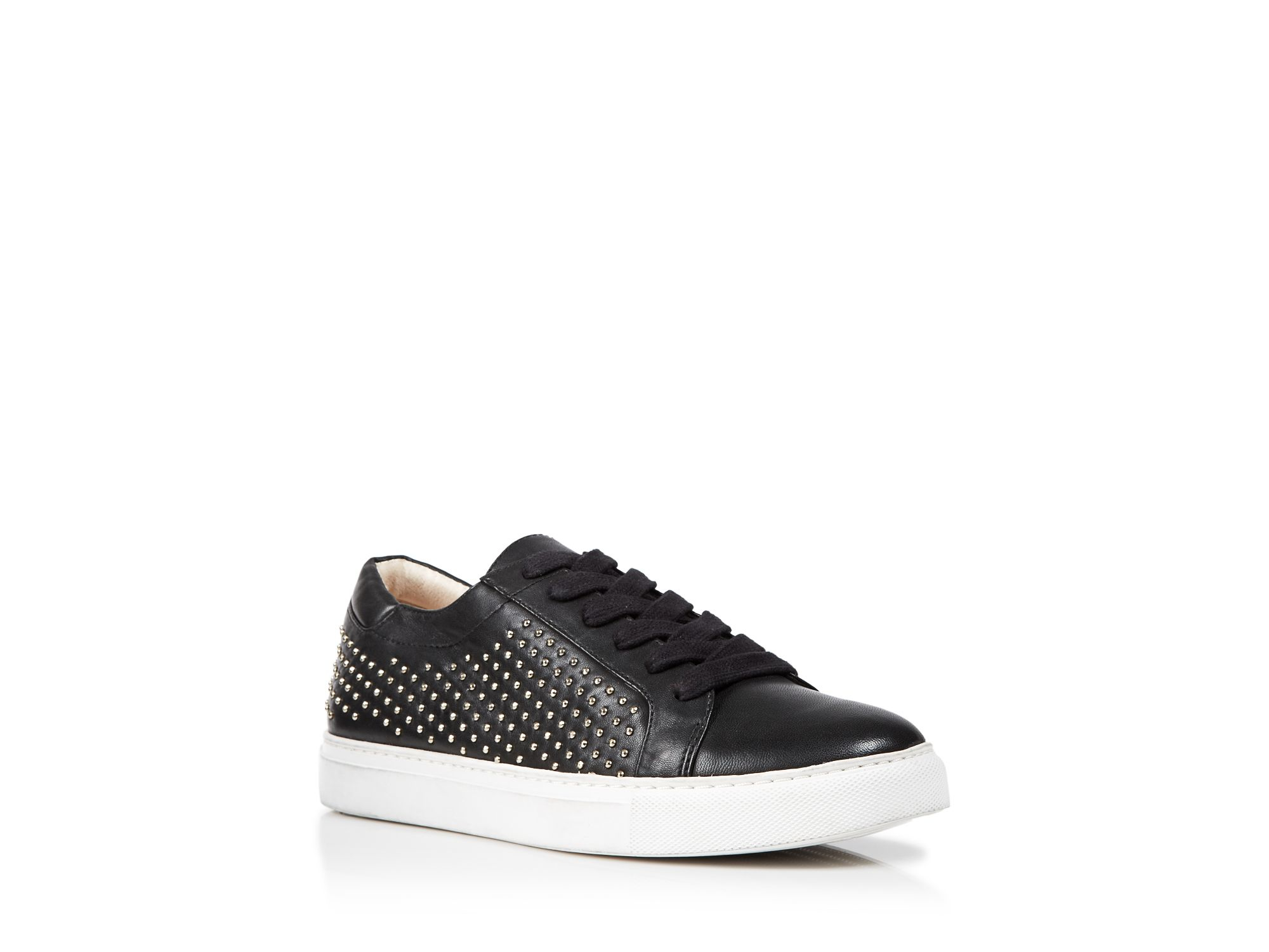Kenneth Cole Lace Up Wedge Sneakers Kam Studded In Black