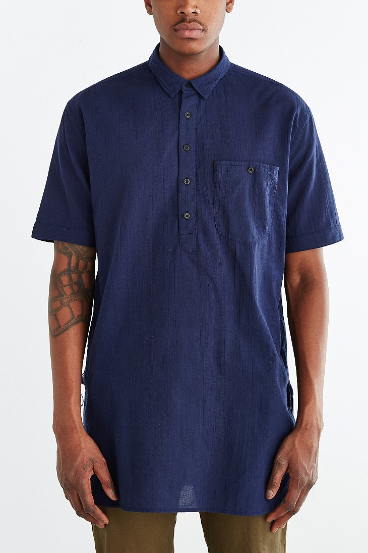 Koto Short Sleeve Long Popover Shirt In Blue For Men Lyst