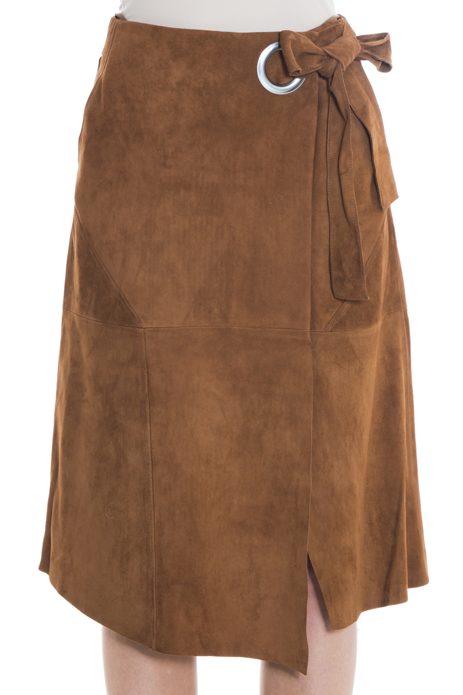 Tibi Suede Wrap Skirt in Brown | Lyst