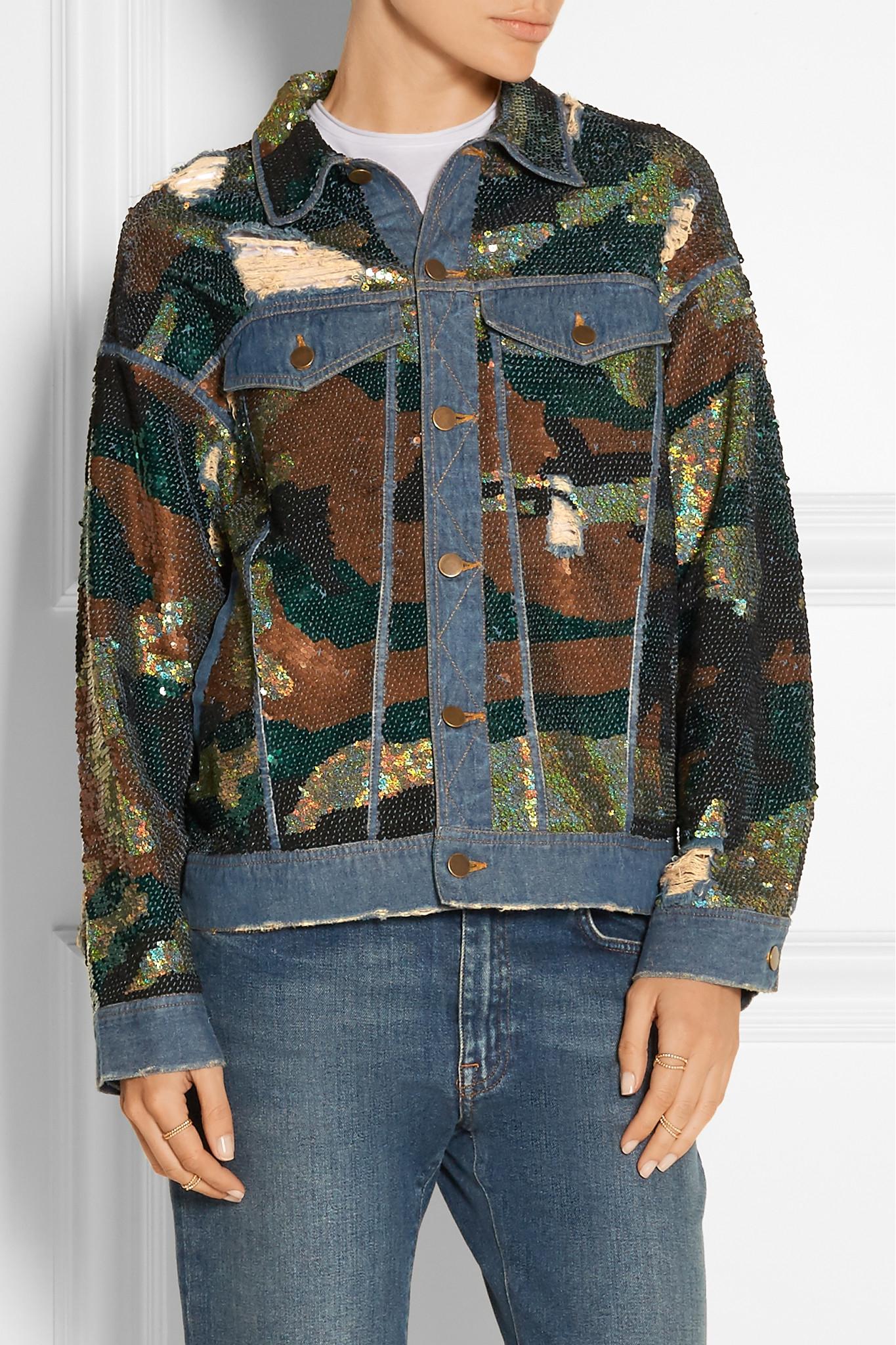 7548a483 Ashish Sequin-embellished Distressed Denim Jacket - Lyst