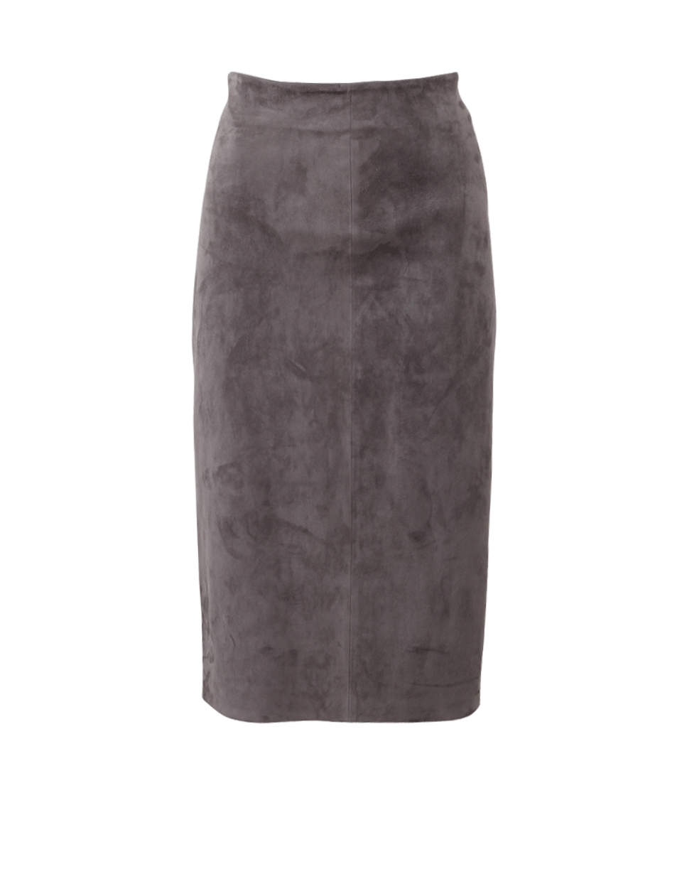 brunello cucinelli stretch leather pencil skirt in gray lyst