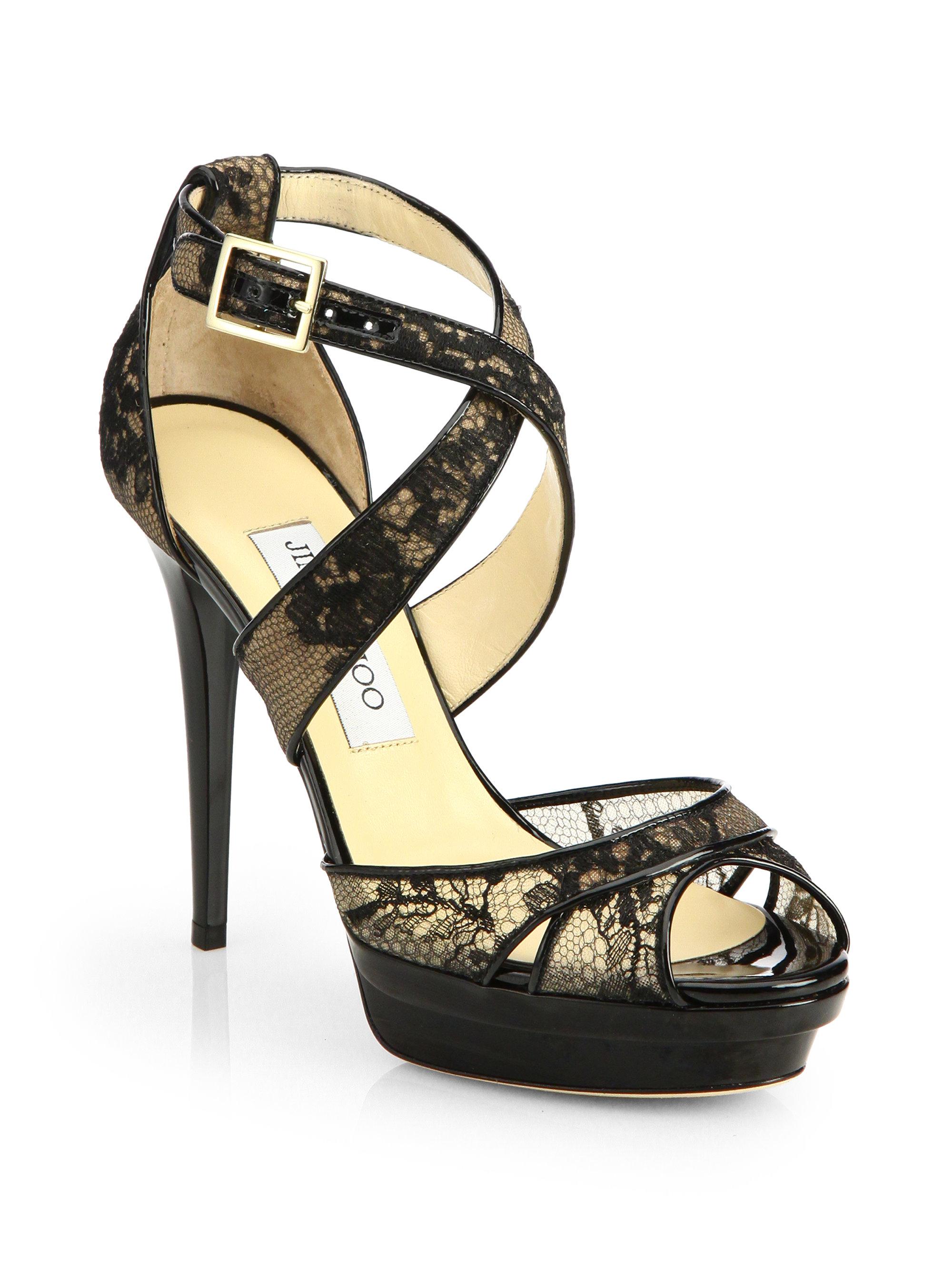 Jimmy choo Kuki Lace Platform Sandals in Black | Lyst