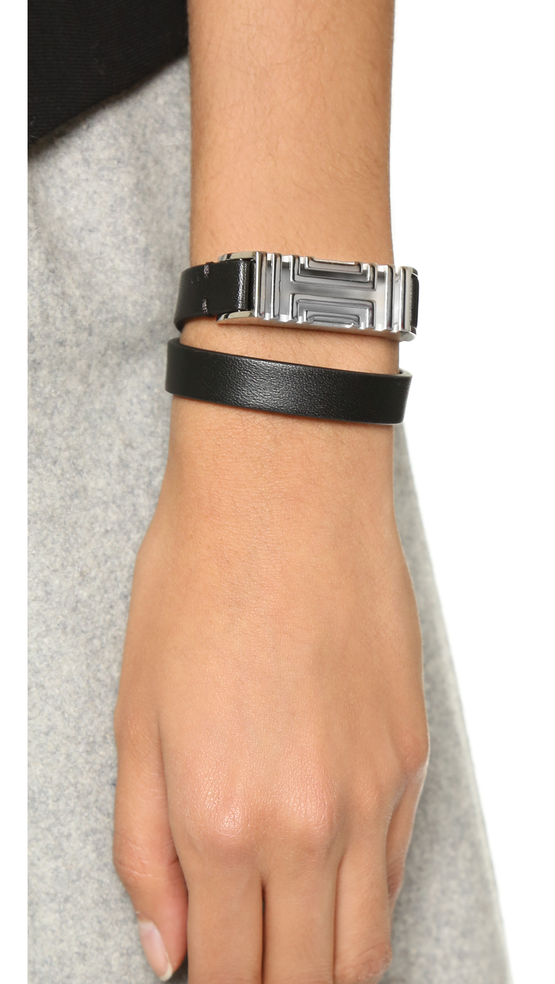 27b550f43ce Tory Burch For Fitbit Leather Bracelet Black Silver In
