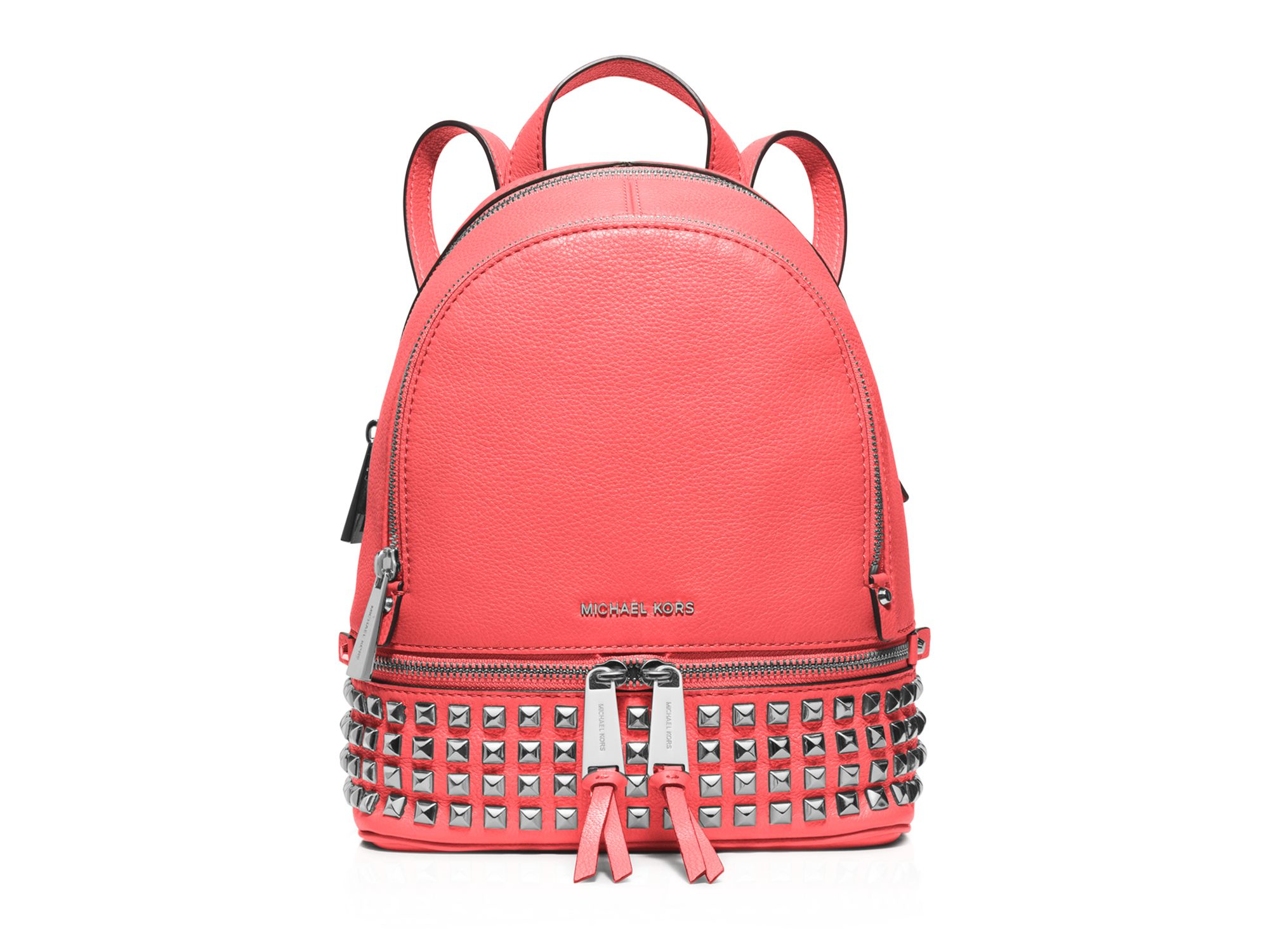 1b9db0533ff3 ... shop lyst michael michael kors extra small rhea zip backpack in pink  ddb4b 4f70e discount code ...