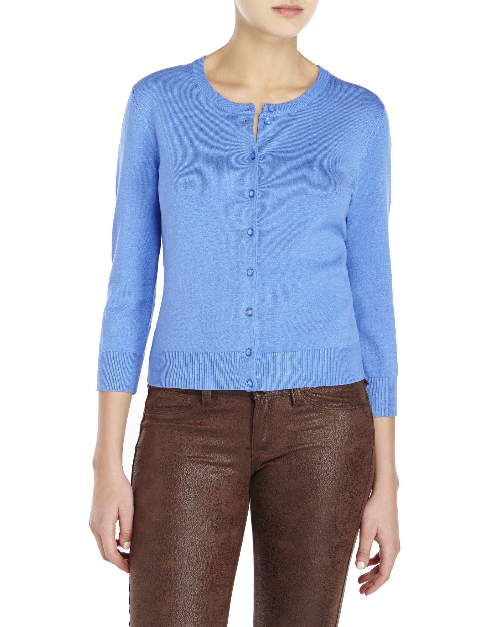 Cable Amp Gauge Button Front Cardigan In Blue Lyst