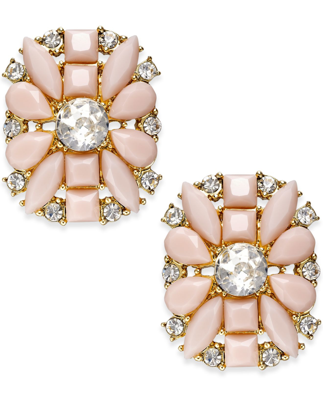 kate spade gold tone floral stud earrings in pink lyst