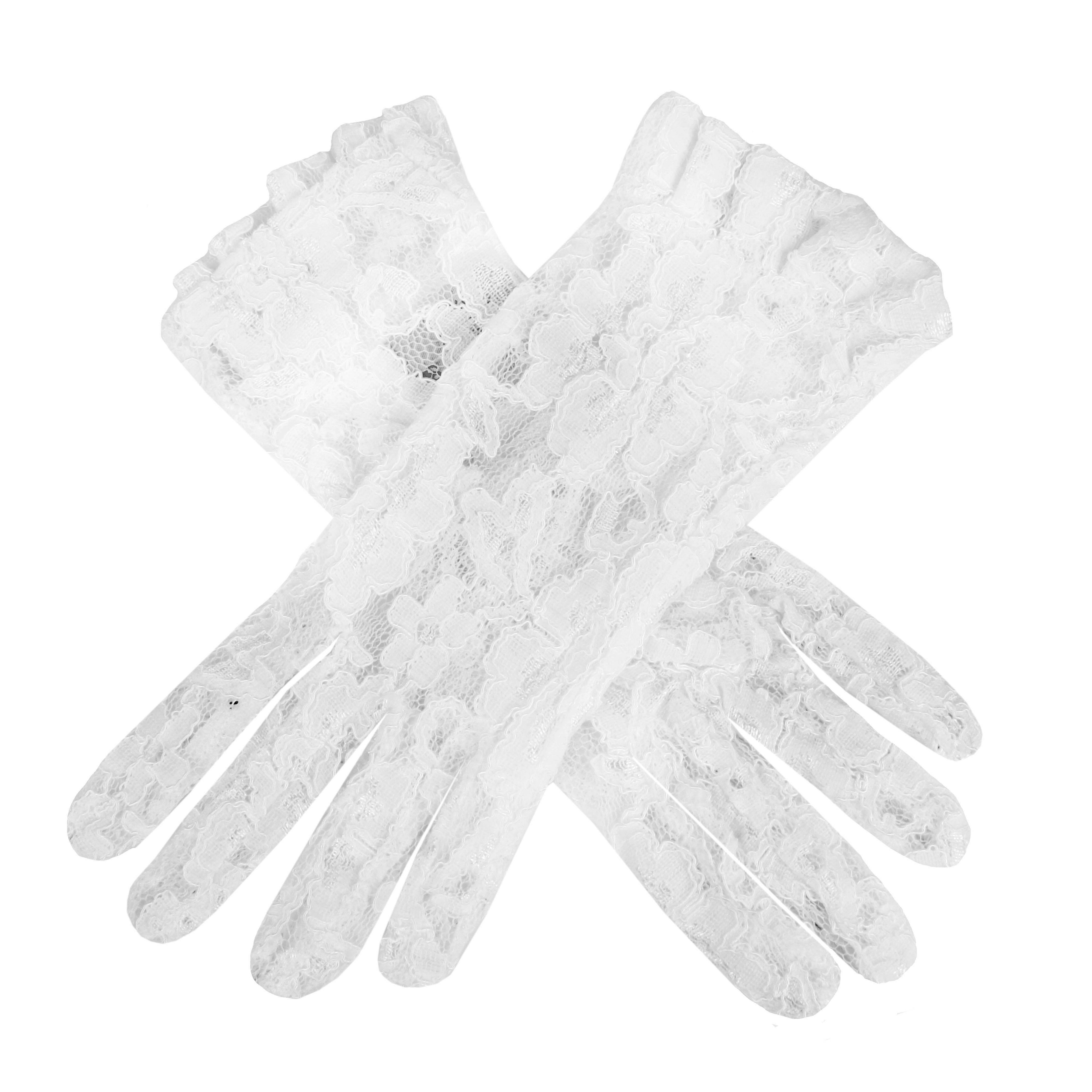 dents ladies short lace glove with ruffle cuff in white lyst