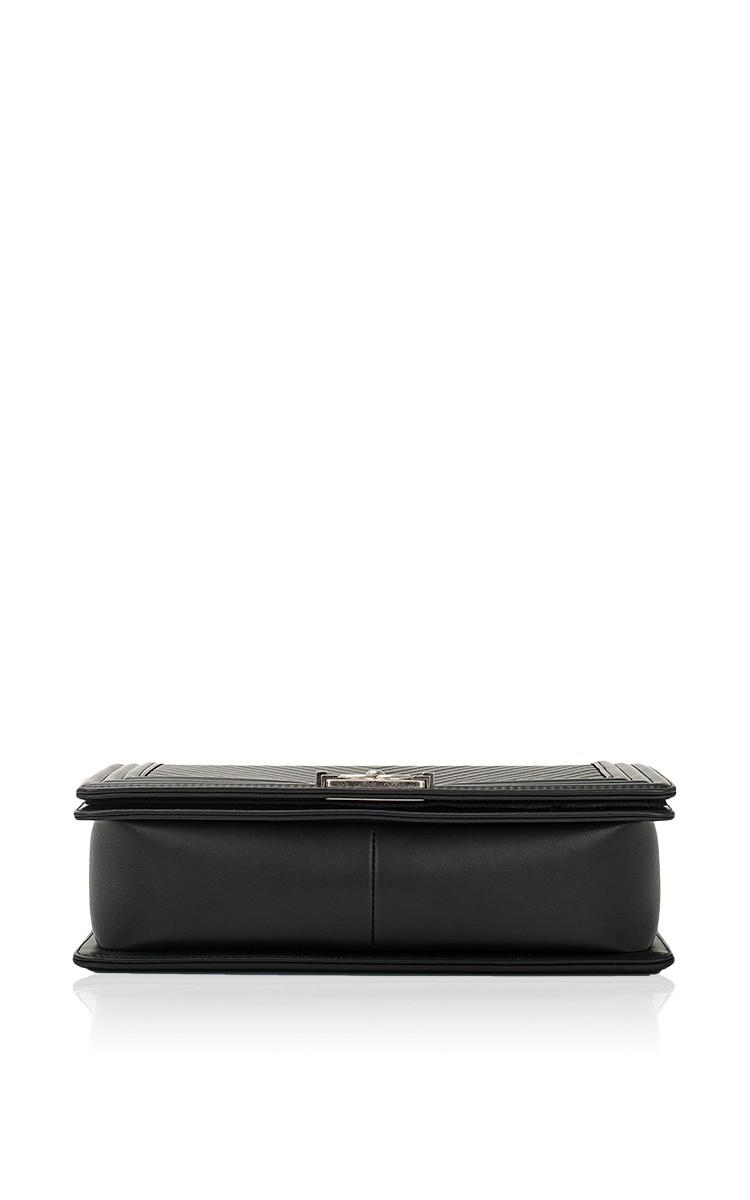 6f163b55553a Lyst - Madison Avenue Couture Chanel Black Herringbone Chevron Calfskin  Large Boy Bag in Black