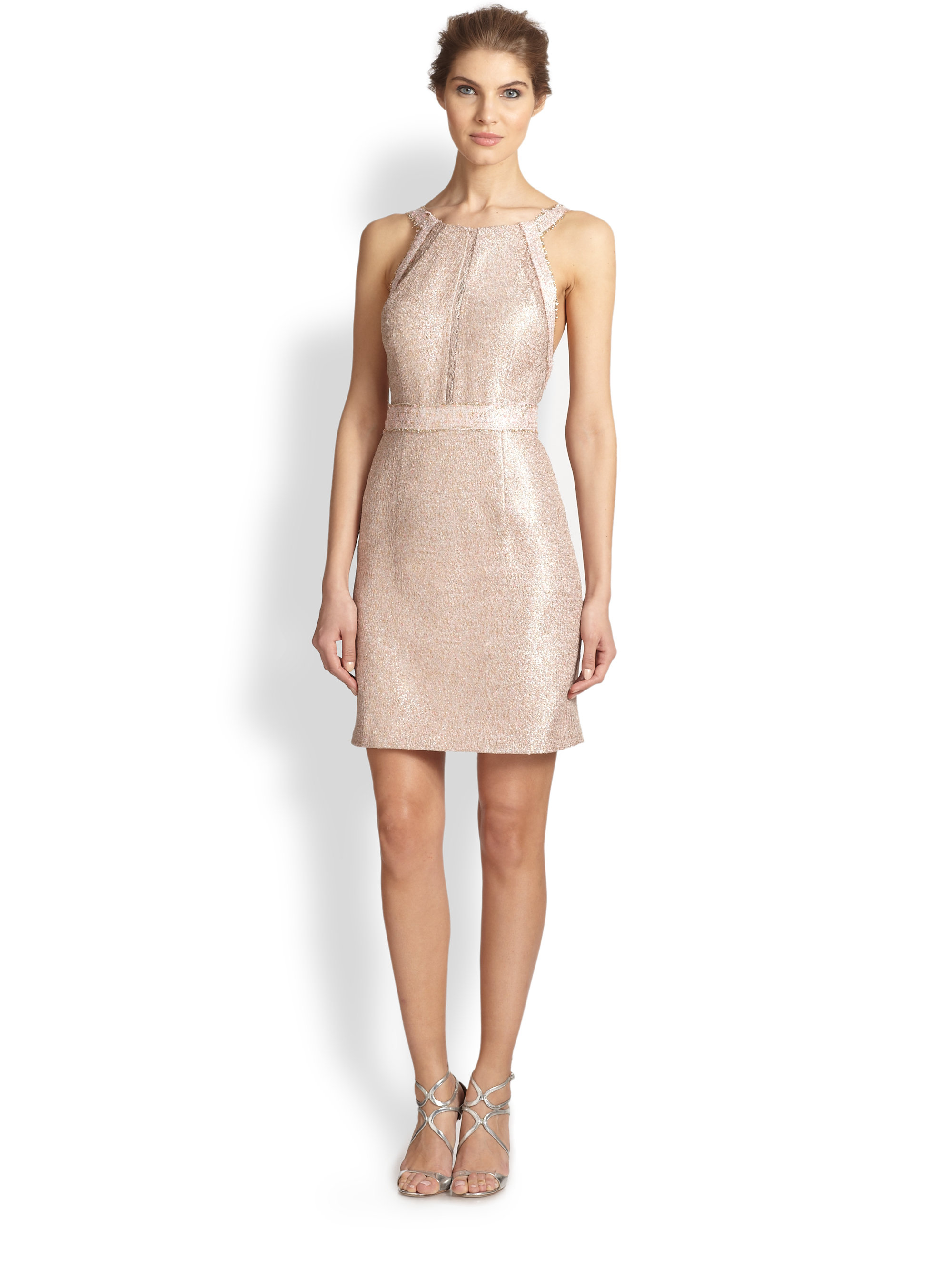Kay unger Metallic Tweed Dress in Pink | Lyst