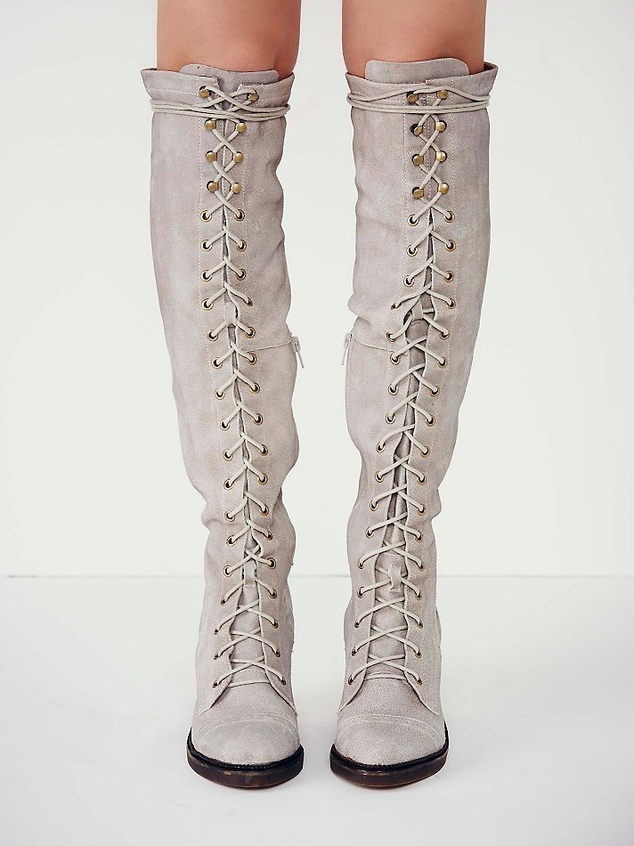 Free People Jesse Lace Up Otk Boot In Gray Lyst