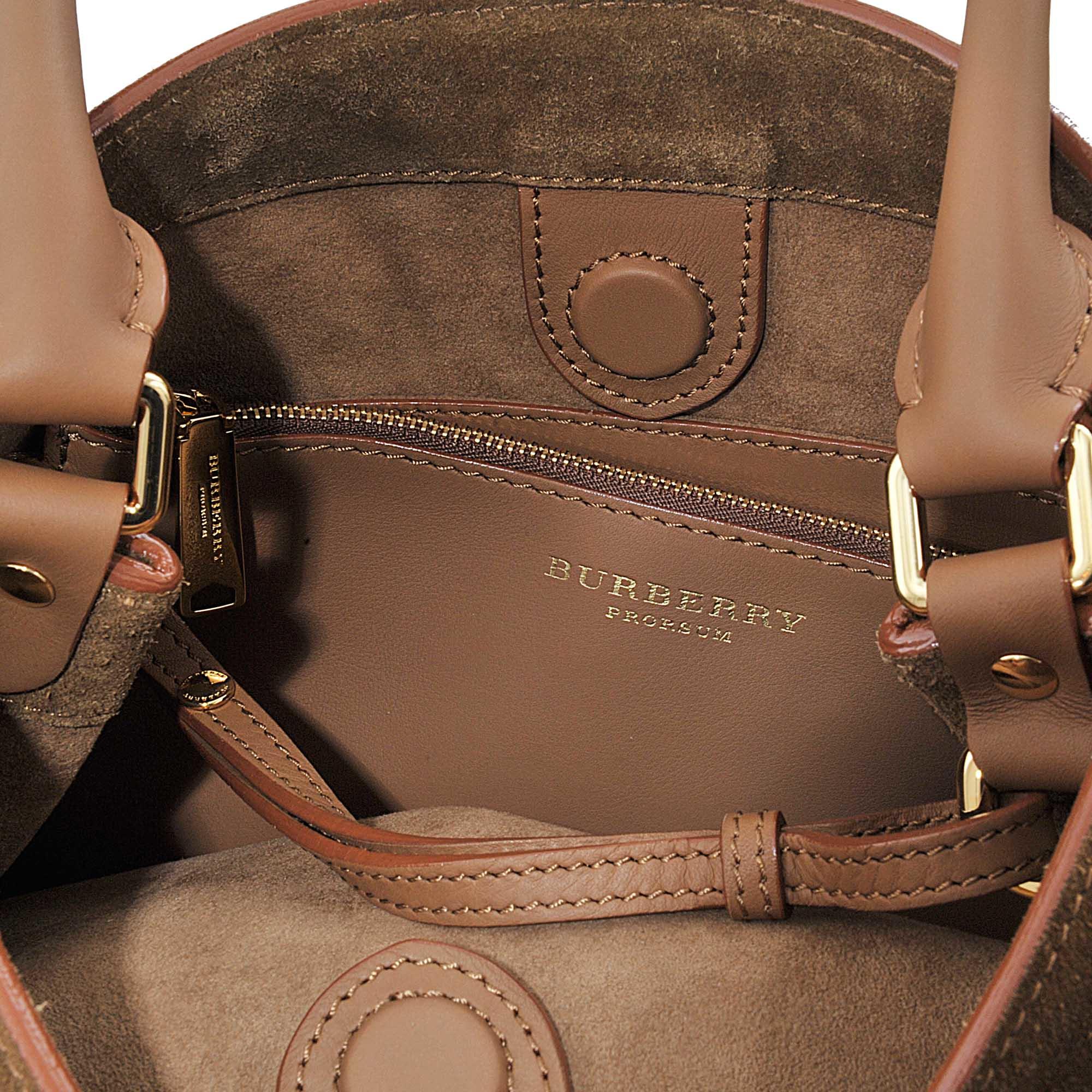 b2528bd032da Lyst - Burberry Prorsum Housecheck Bucket Bag With Fringe in Brown