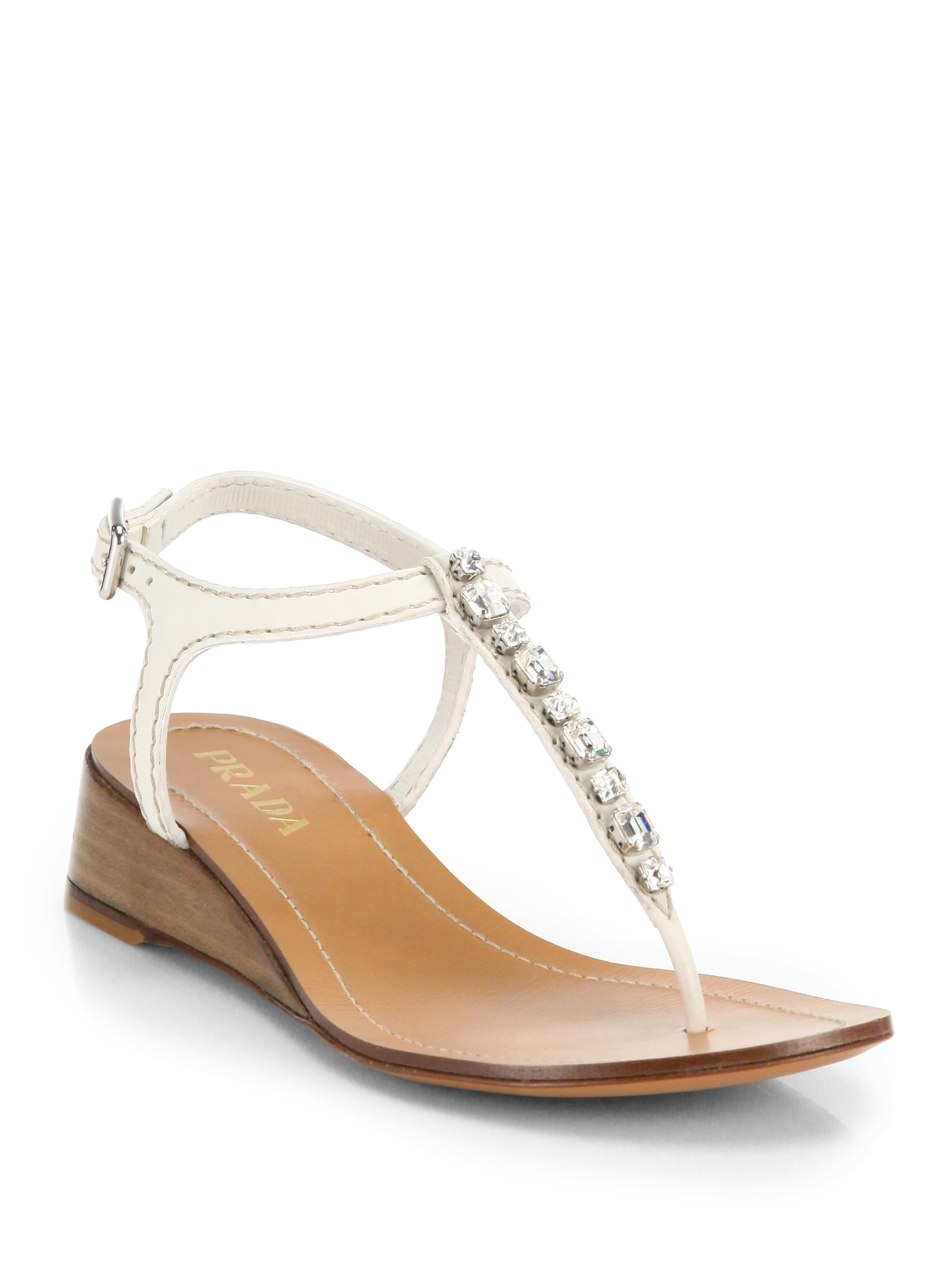 a439ad47b Lyst - Prada Swarovski Crystal Leather Wedge Thong Sandals in White