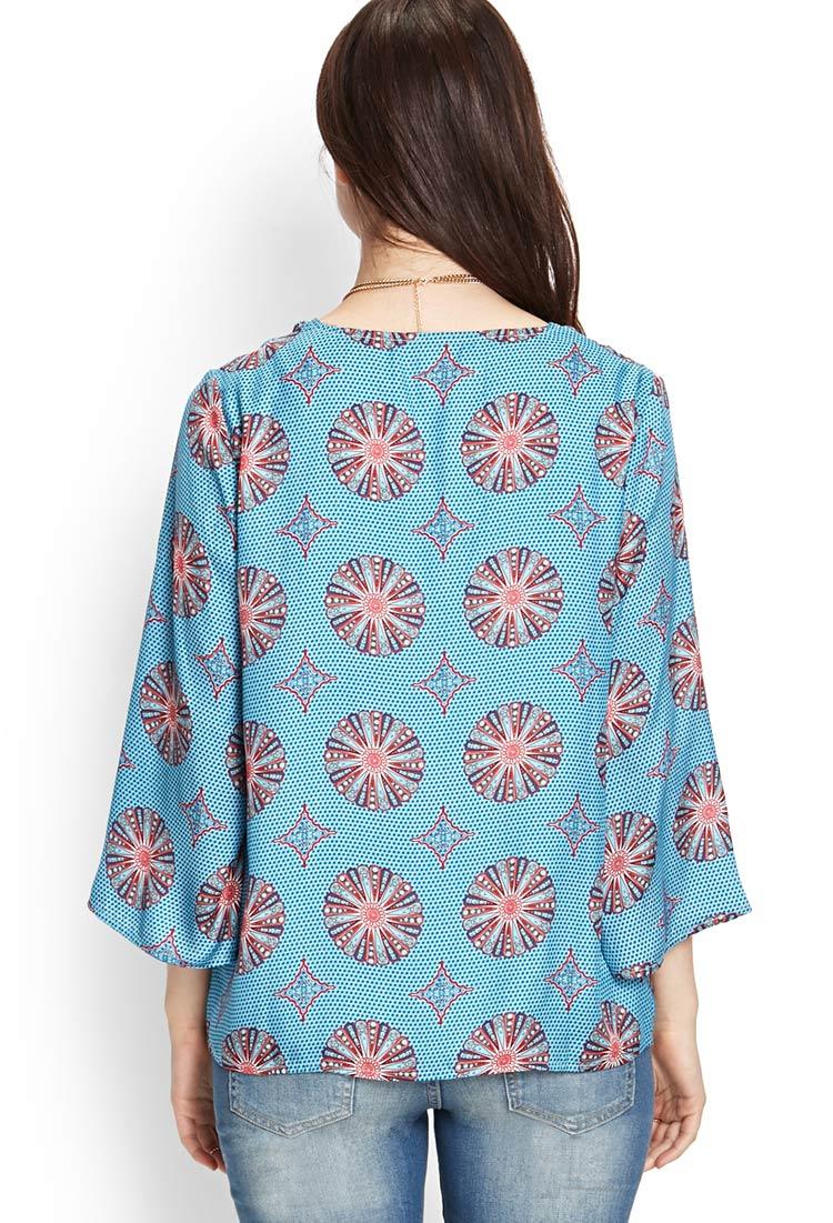 Forever 21 Contemporary Medallion Kimono Cardigan in Blue ...