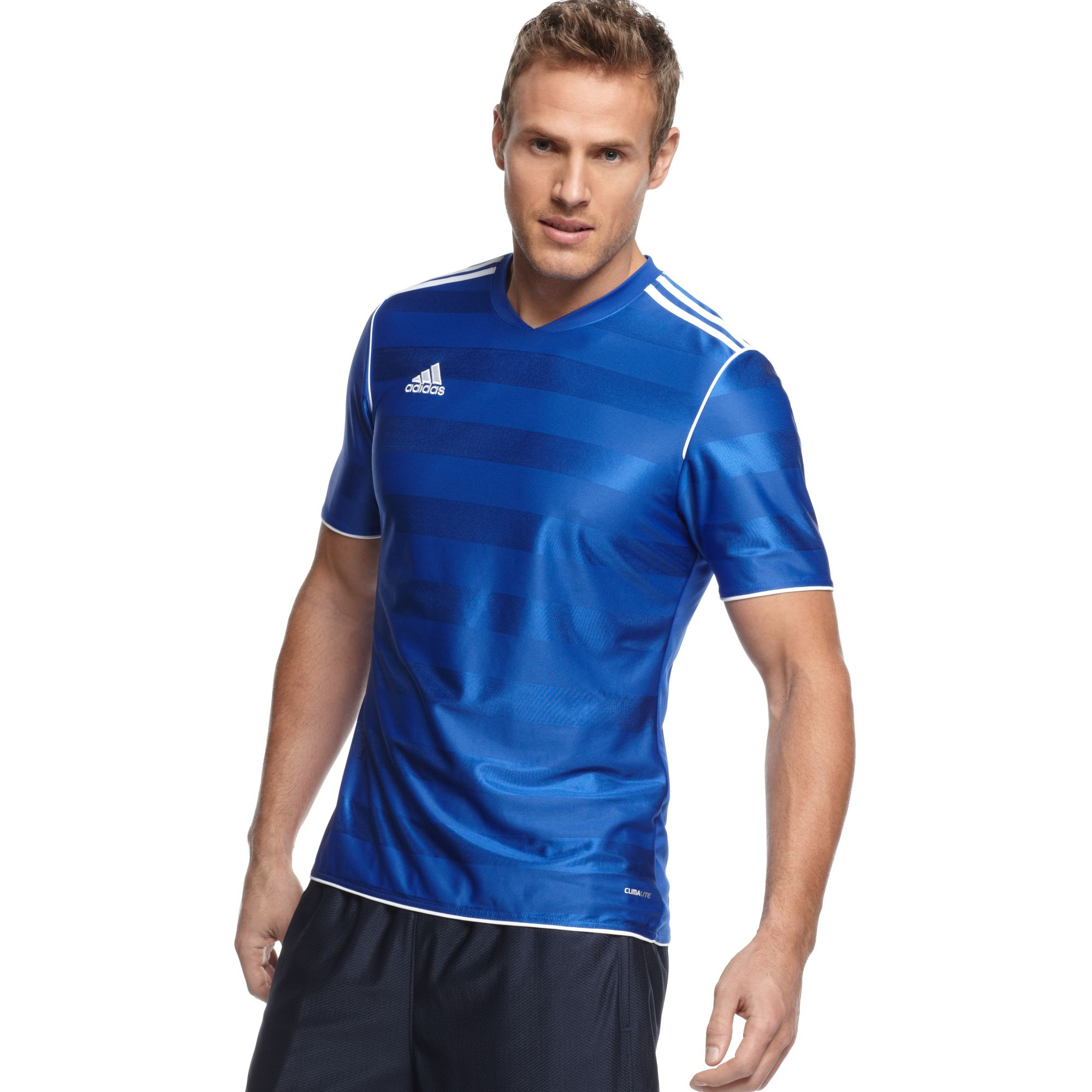 adidas T Shirt Tabela 11 Climalite Soccer Jersey in White (Blue ...