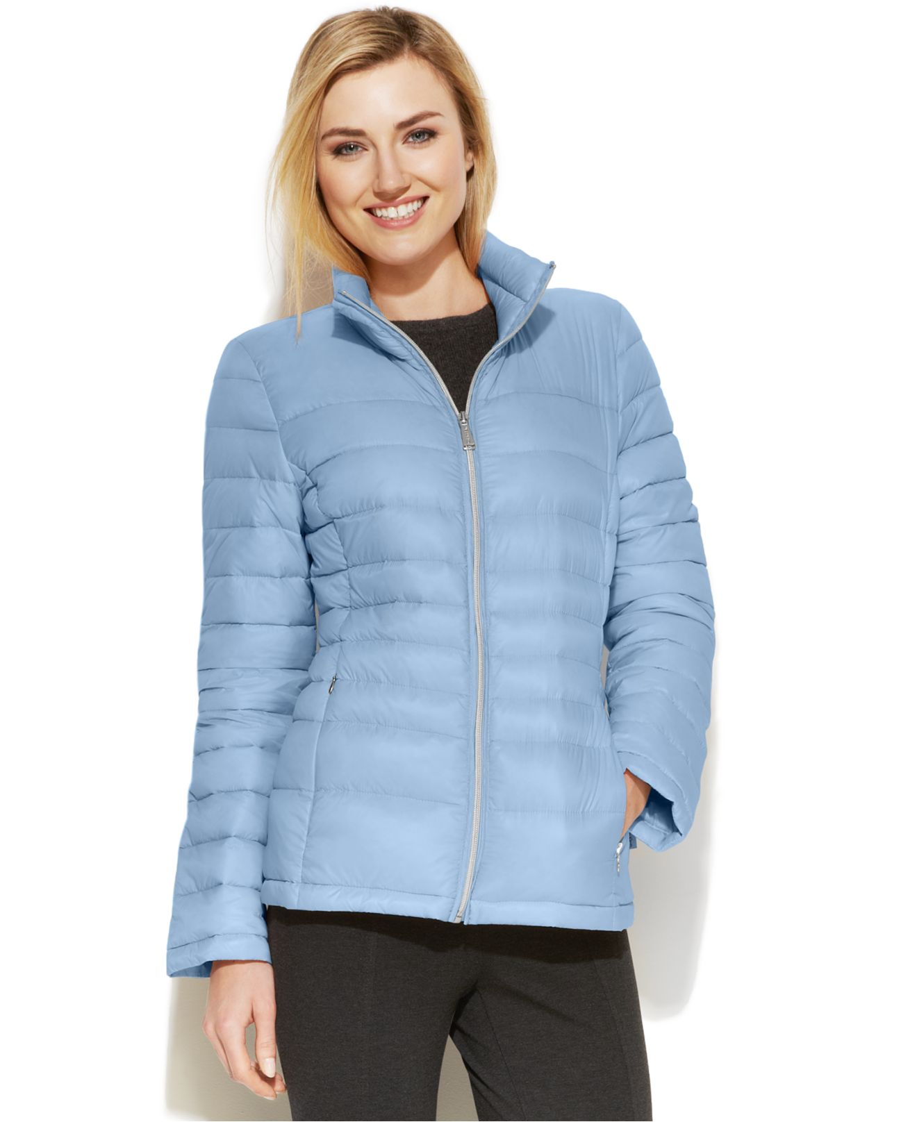 Calvin Klein Quilted Packable Down Puffer Coat In Blue Lyst