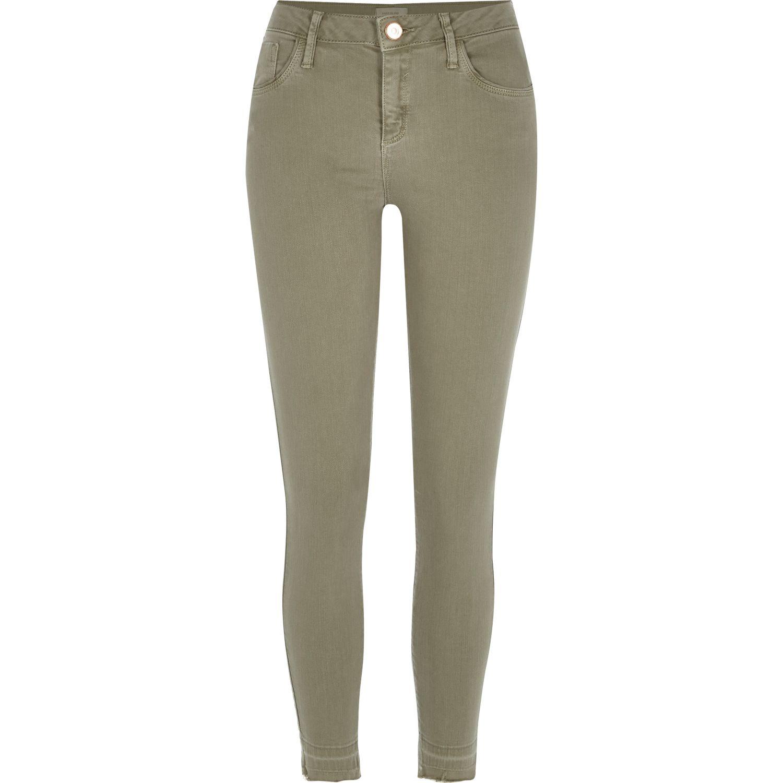 River island Khaki Turn Down Hem Amelie Superskinny Jeans in