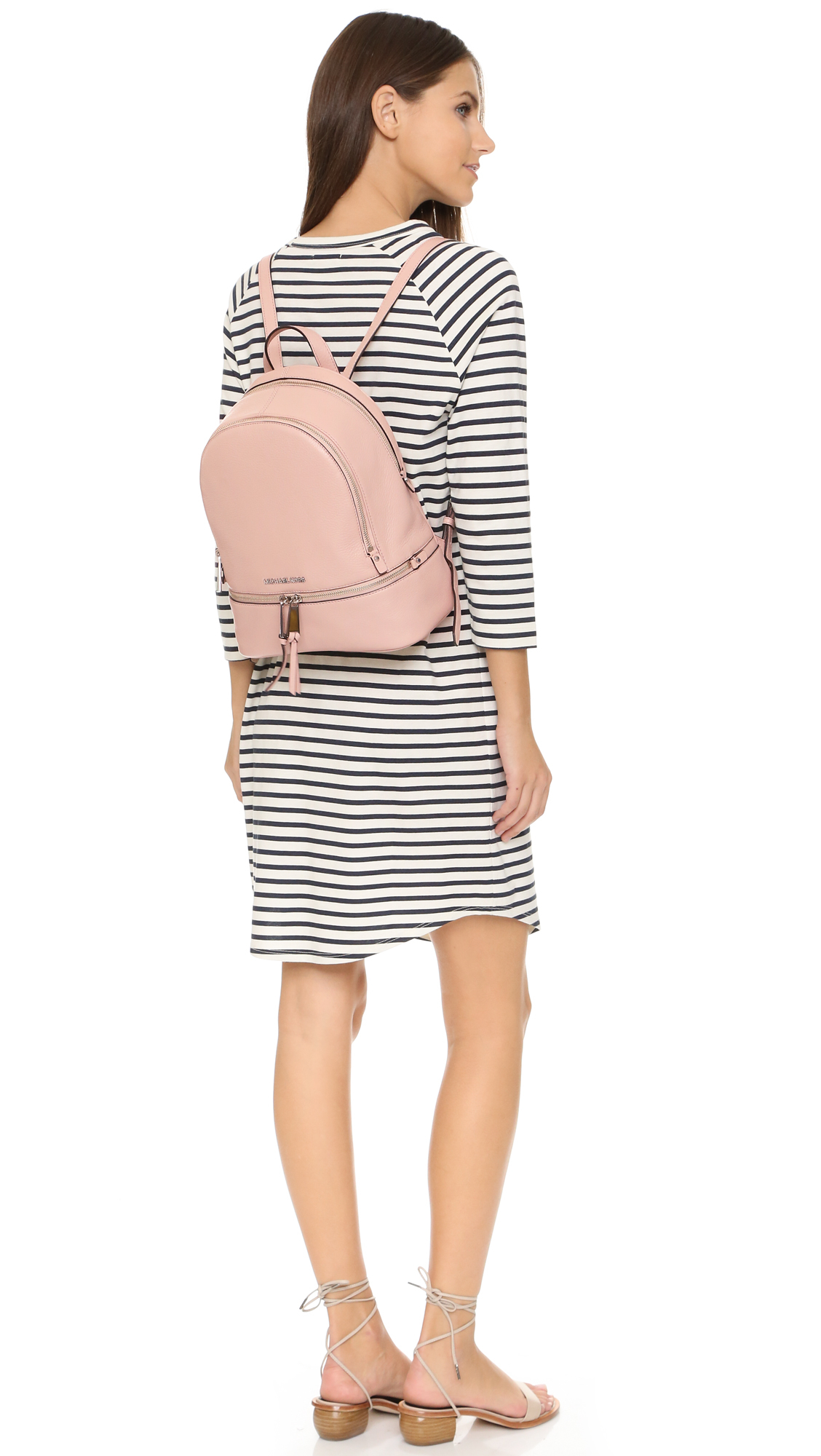 f5b49cb67cd9 ... best lyst michael michael kors rhea small backpack ballet in pink 51538  64210